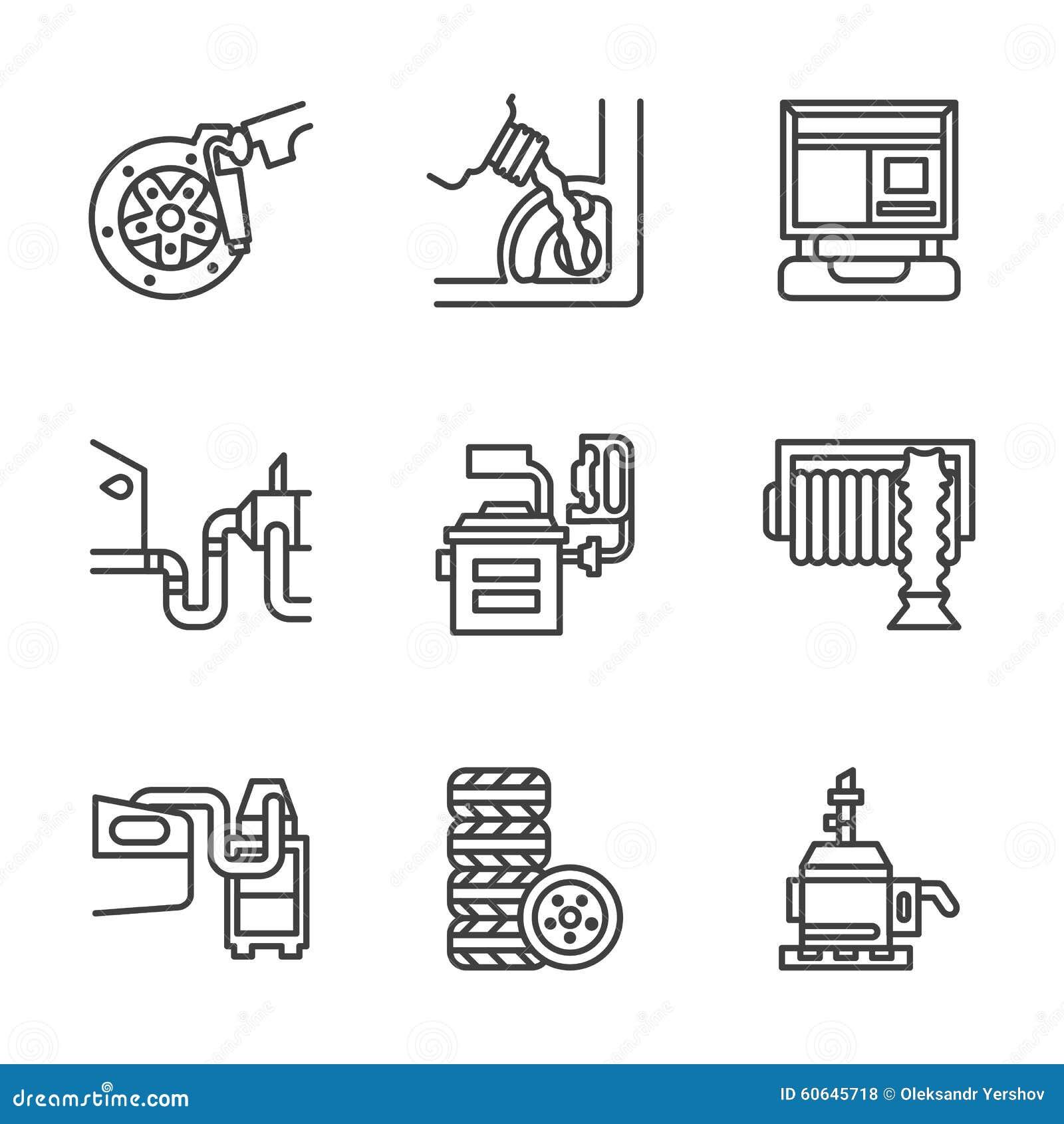 Pictogrammen van de het centrum de vlakke lijn van de autodienst