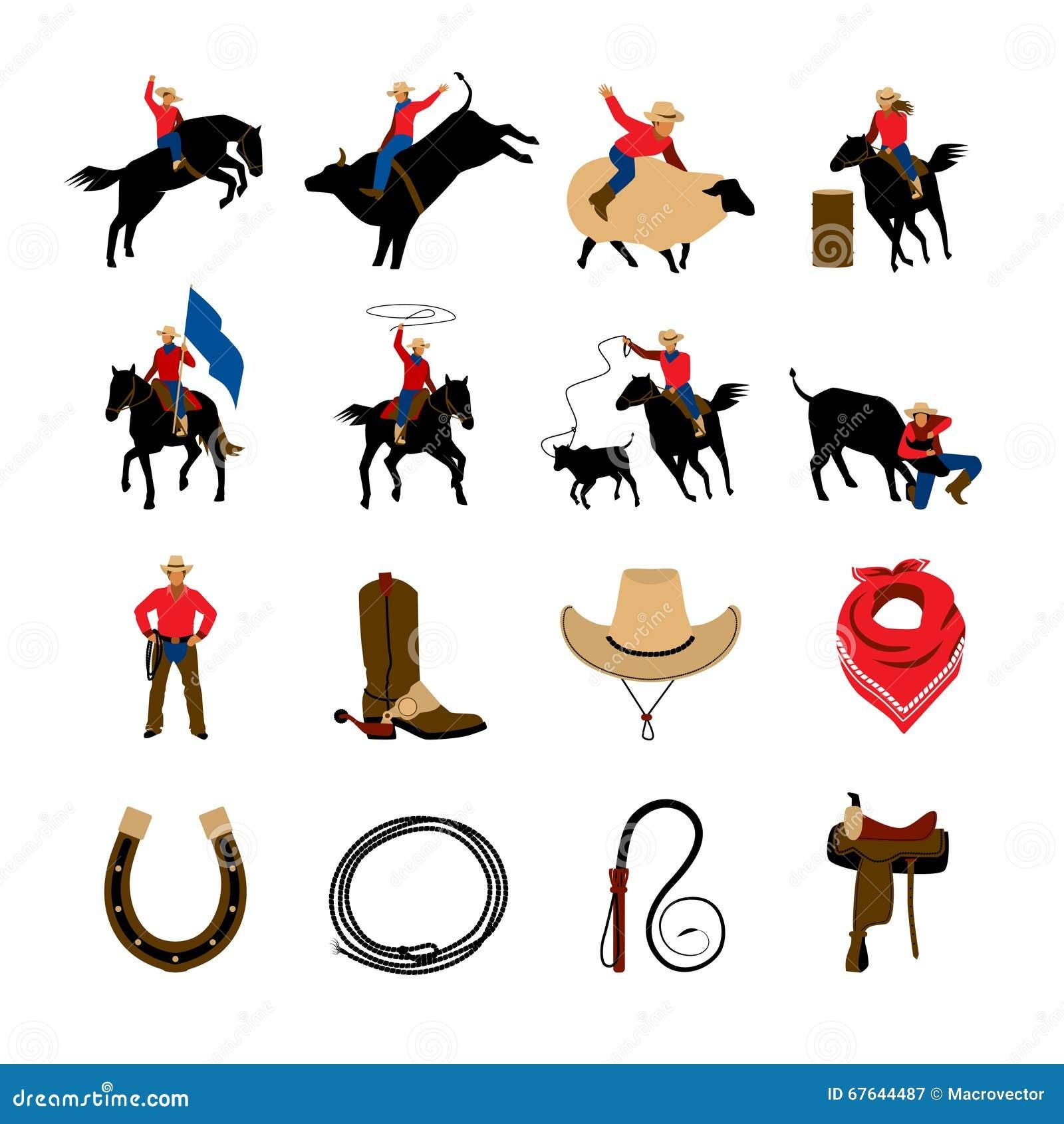 Pictogrammen van de rodeo de Vlakke Kleur