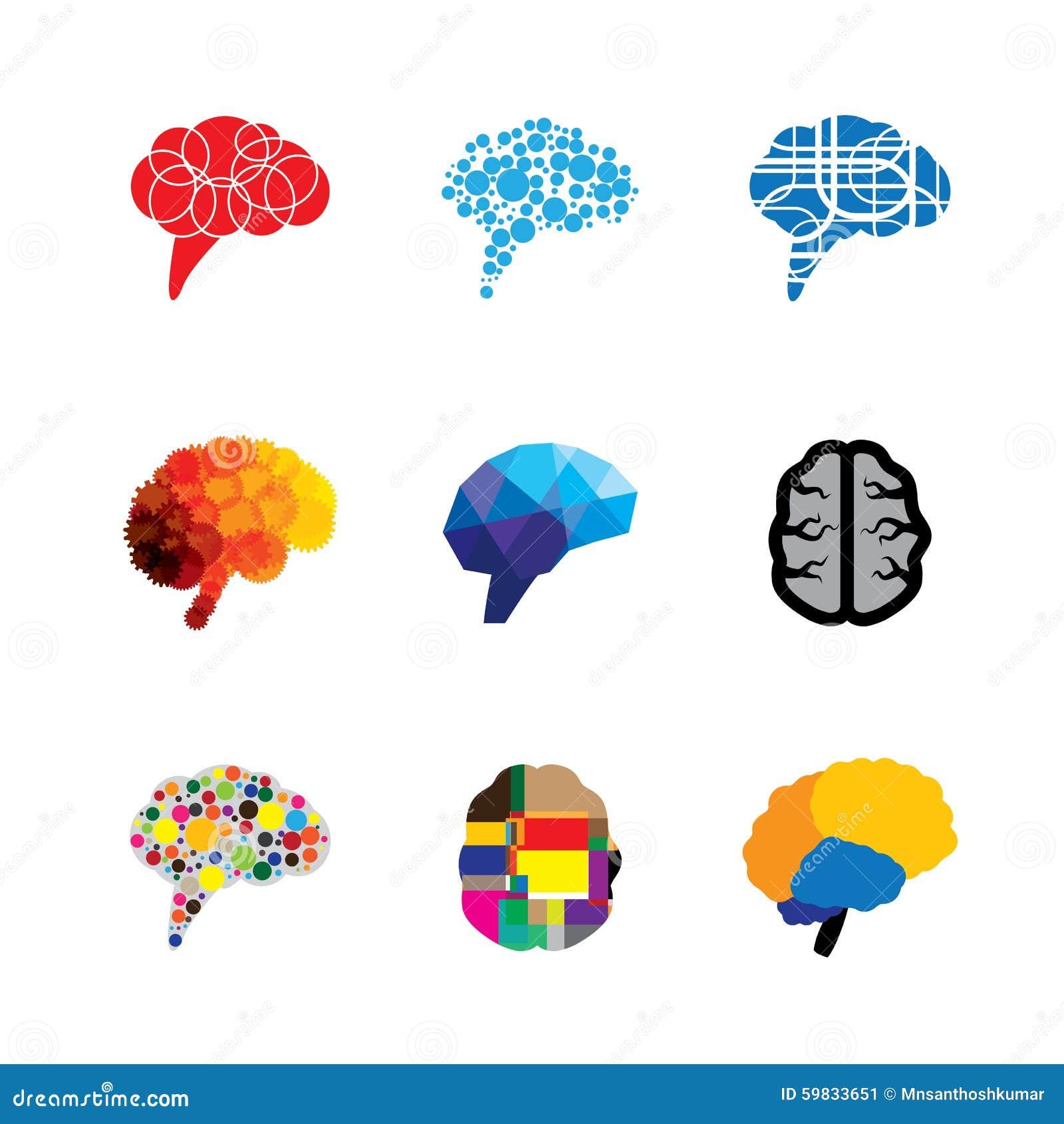 Pictogrammen van het concepten de vectorembleem van hersenen en mening