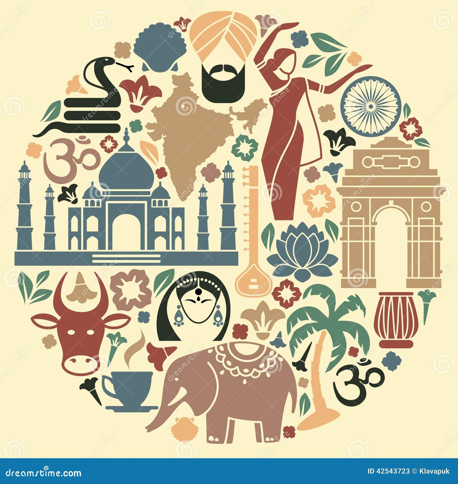 Pictogrammen van India in de vorm van een cirkel