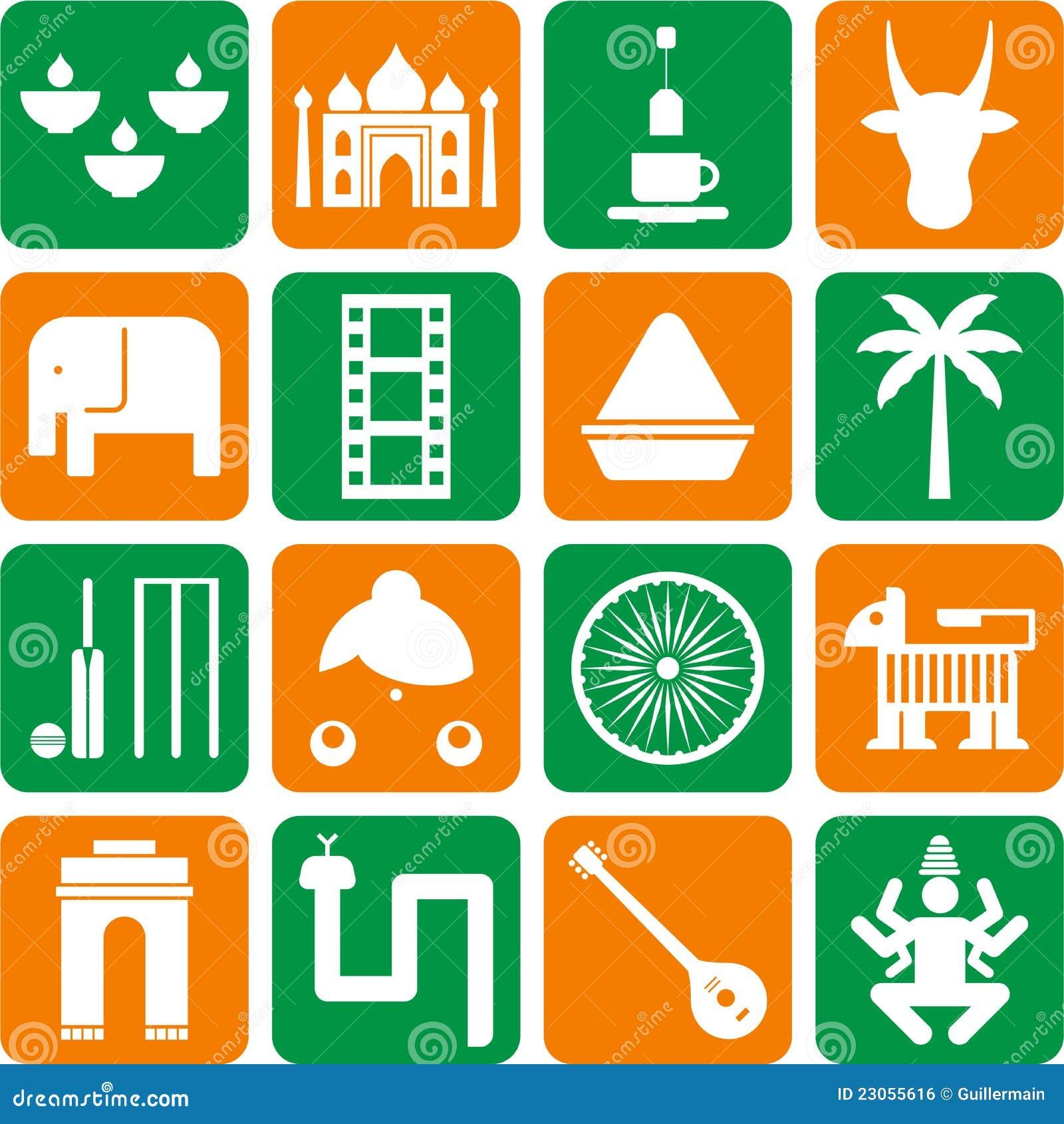 Berühmt Pictogrammes De L'Inde Photos libres de droits - Image: 23055608 SA61