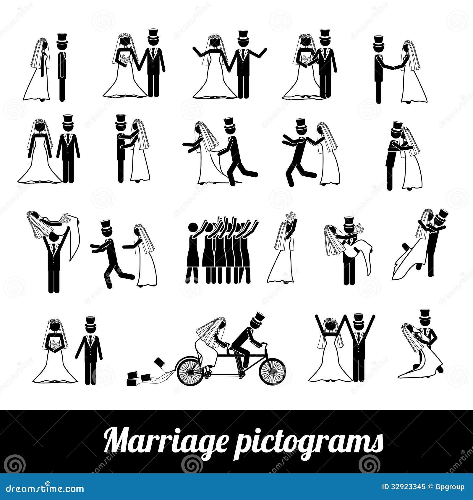 Berühmt Pictogrammes De Mariage Photo libre de droits - Image: 32923345 SA61