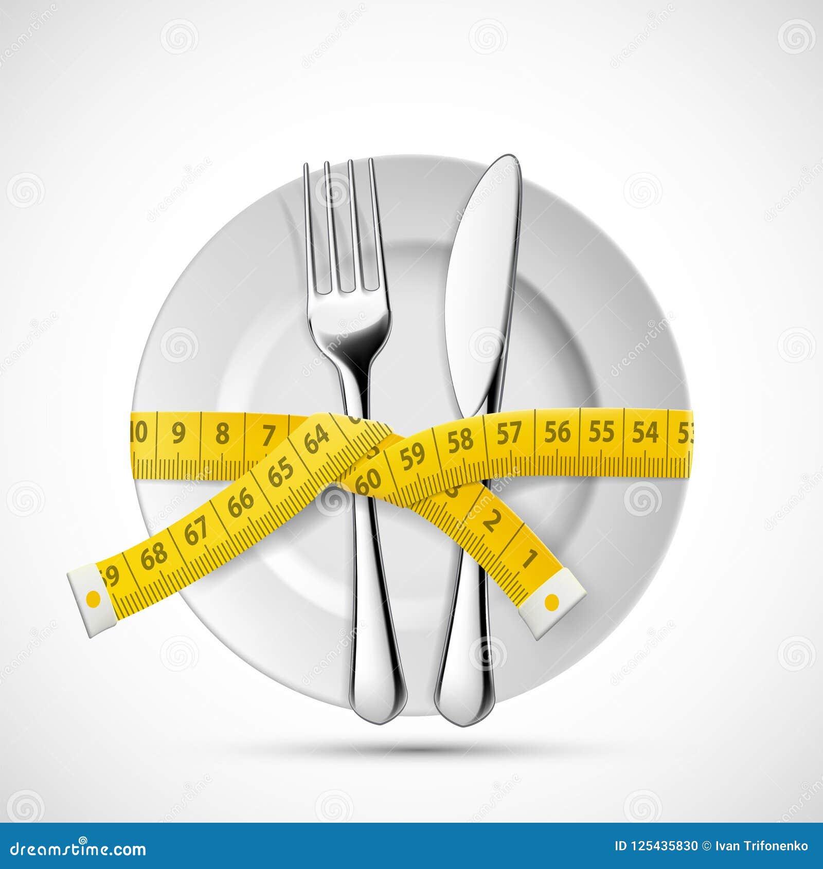 Pictogramplaat met mes, vork en het maken metend band Het op dieet zijn en gezonde levensstijl