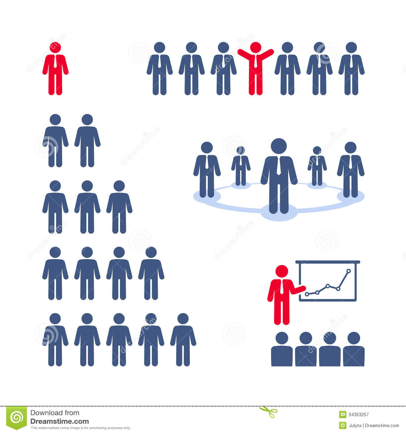 Business people pictograms. Team, presentation, business tree network.