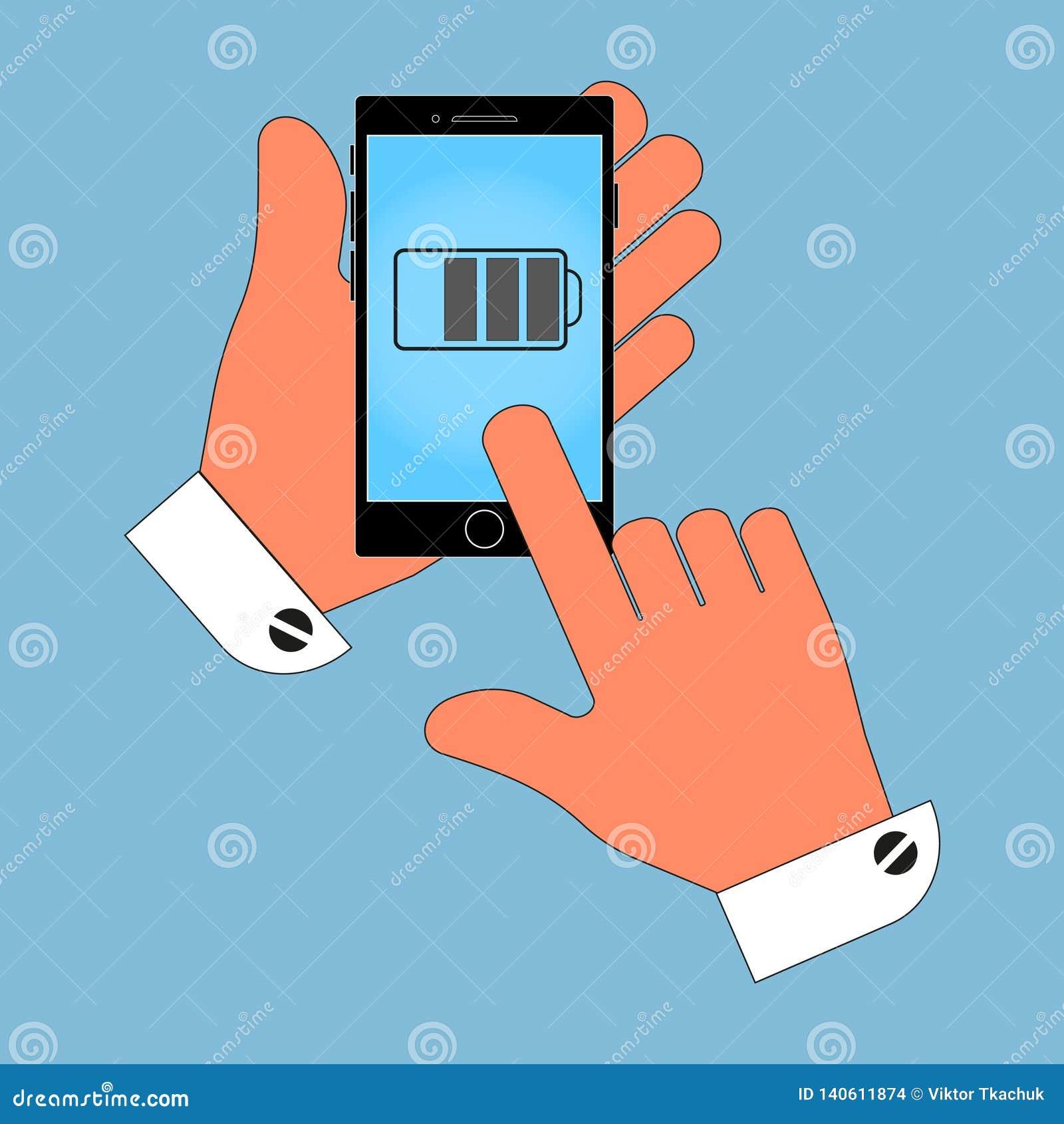 Pictogramtelefoon ter beschikking, op het schermbatterij, last, op een blauwe achtergrond wordt geïsoleerd die
