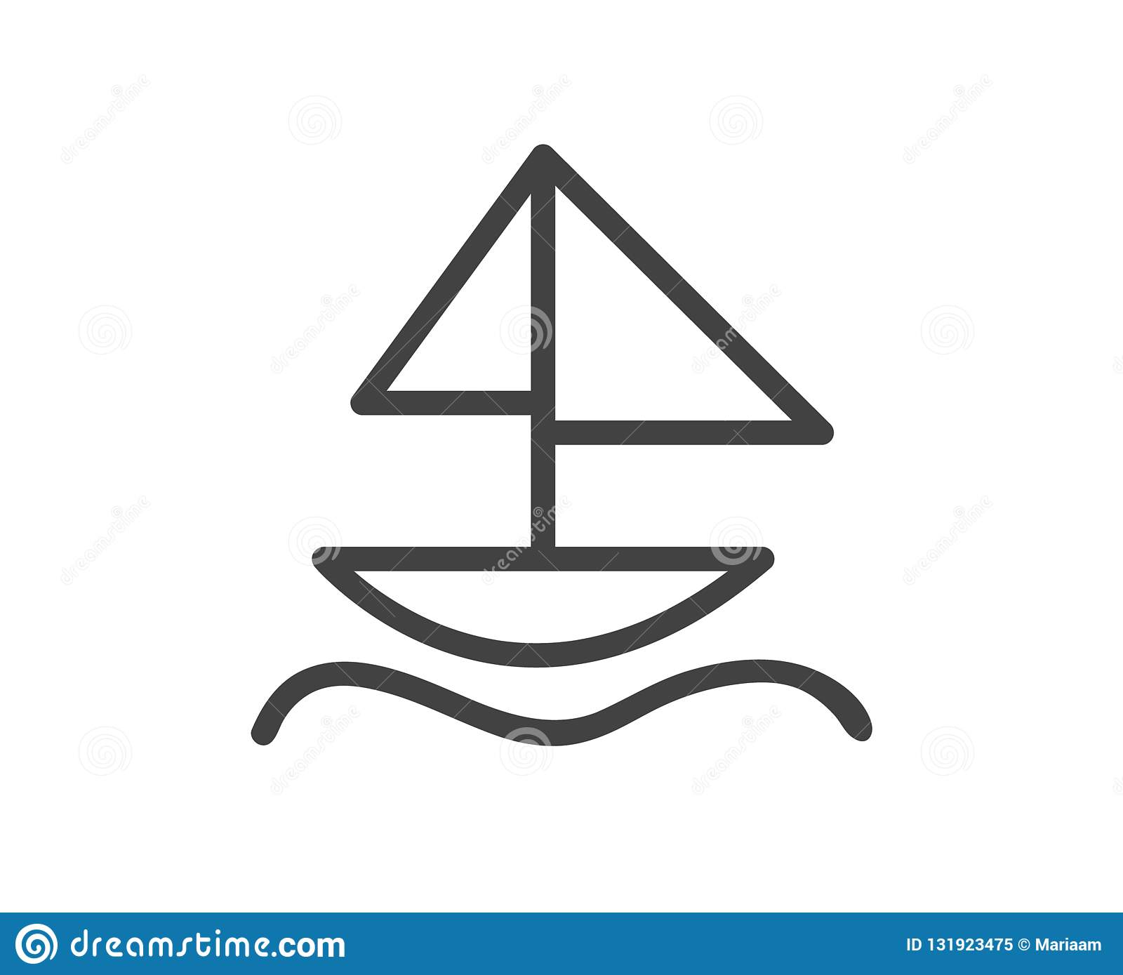 Sailboat line out icon in black and white pictograph with sailing boat isolated over white