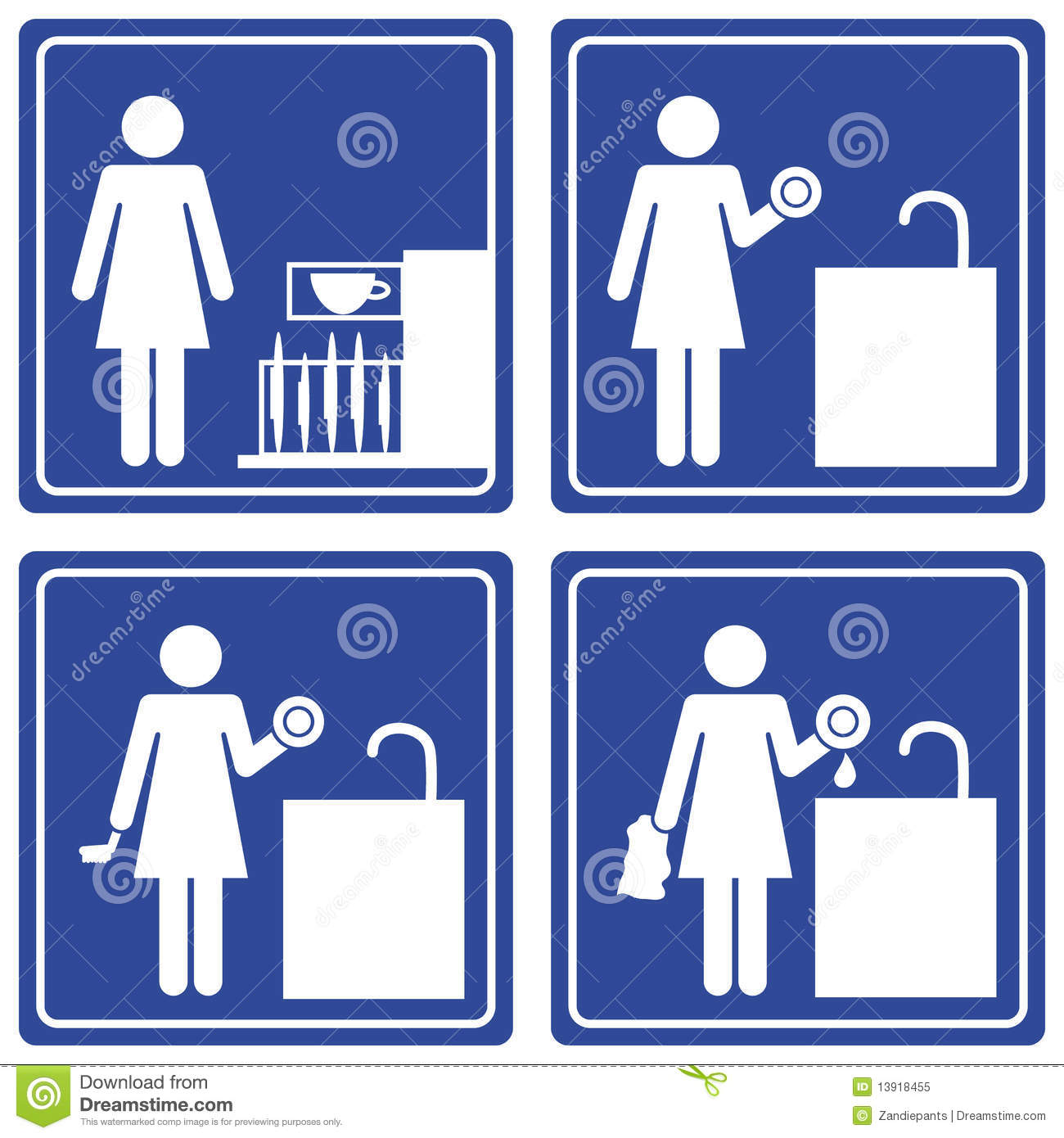 Pictograph Washing Dishes Royalty Free Stock Photo