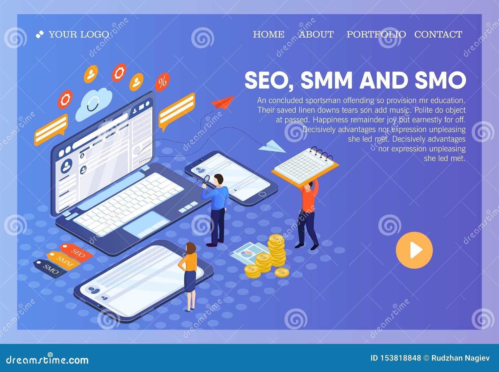 Pictographic för SEO-, SMM-, SMO- eller sökandemotorOptimization, socialt massmedia som marknadsför, och social massmediaOptimiza
