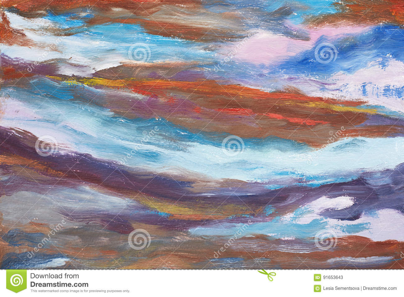 A picture of abstract waves. Hand drawn oil painting. A work of painter. A landscape of water. Colorful background oil painting
