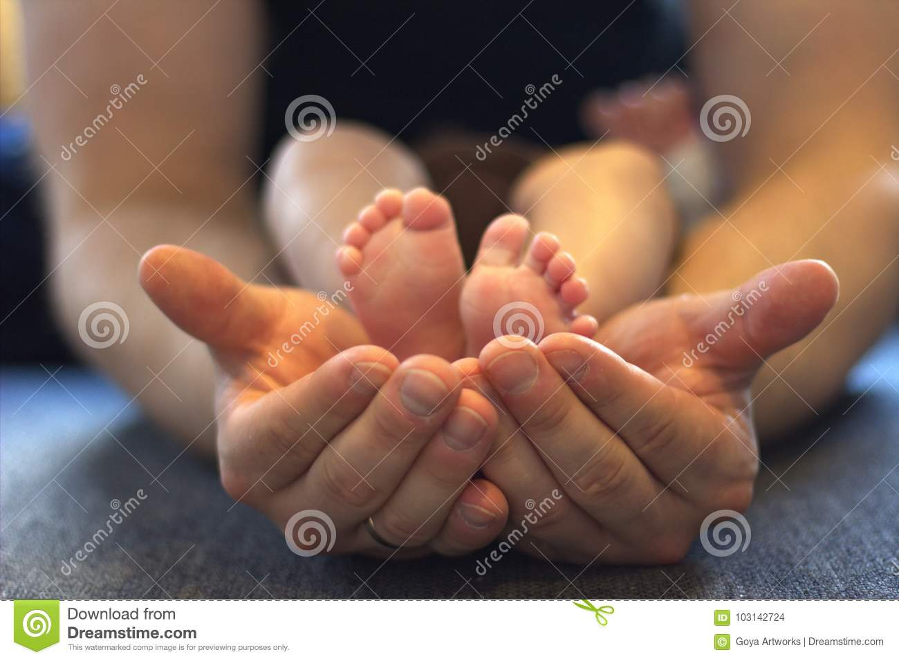 Baby feet and hands stock photo. Image of innocent, little - 103142724