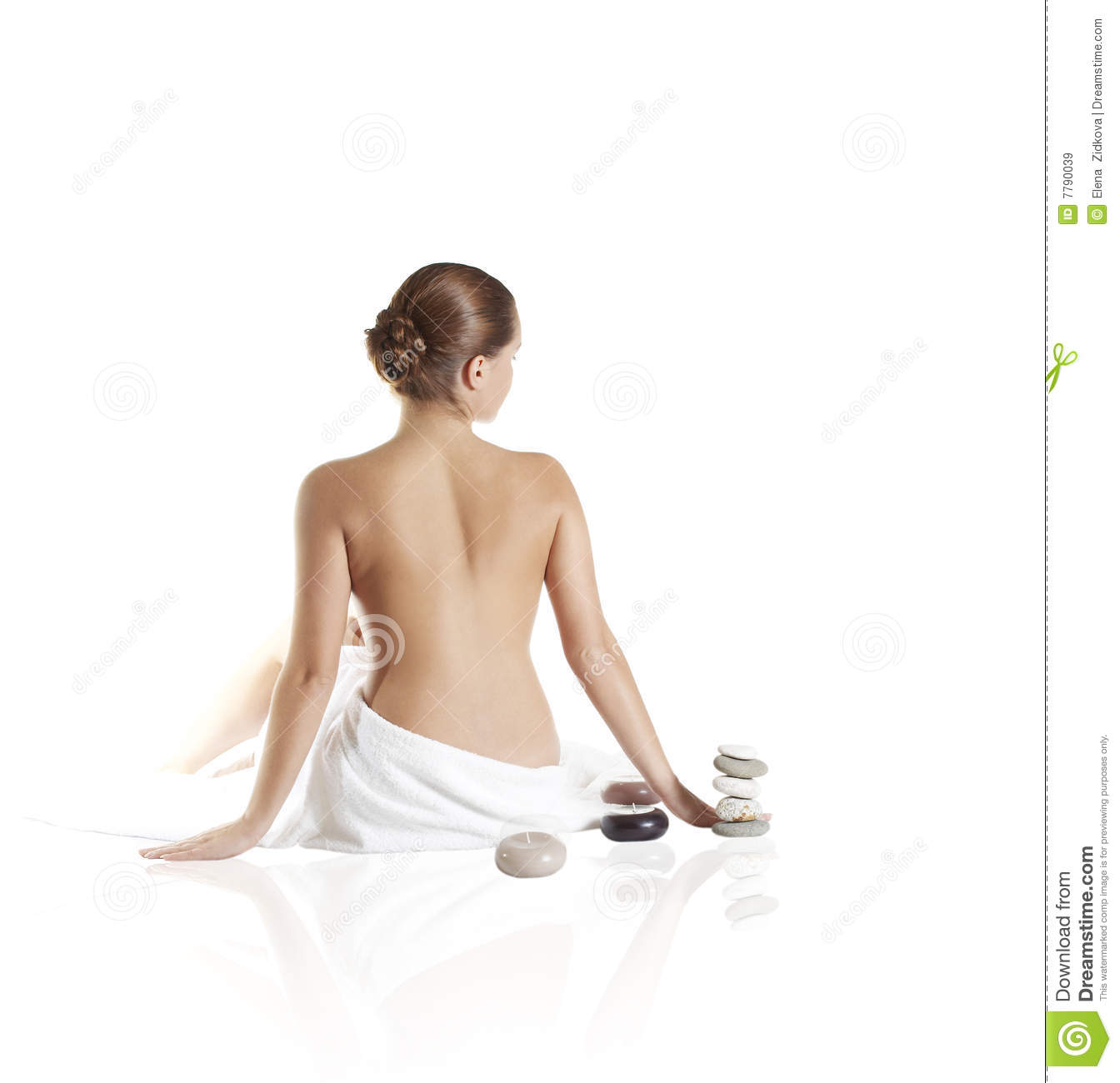 Picture of beautiful lady with wite towels