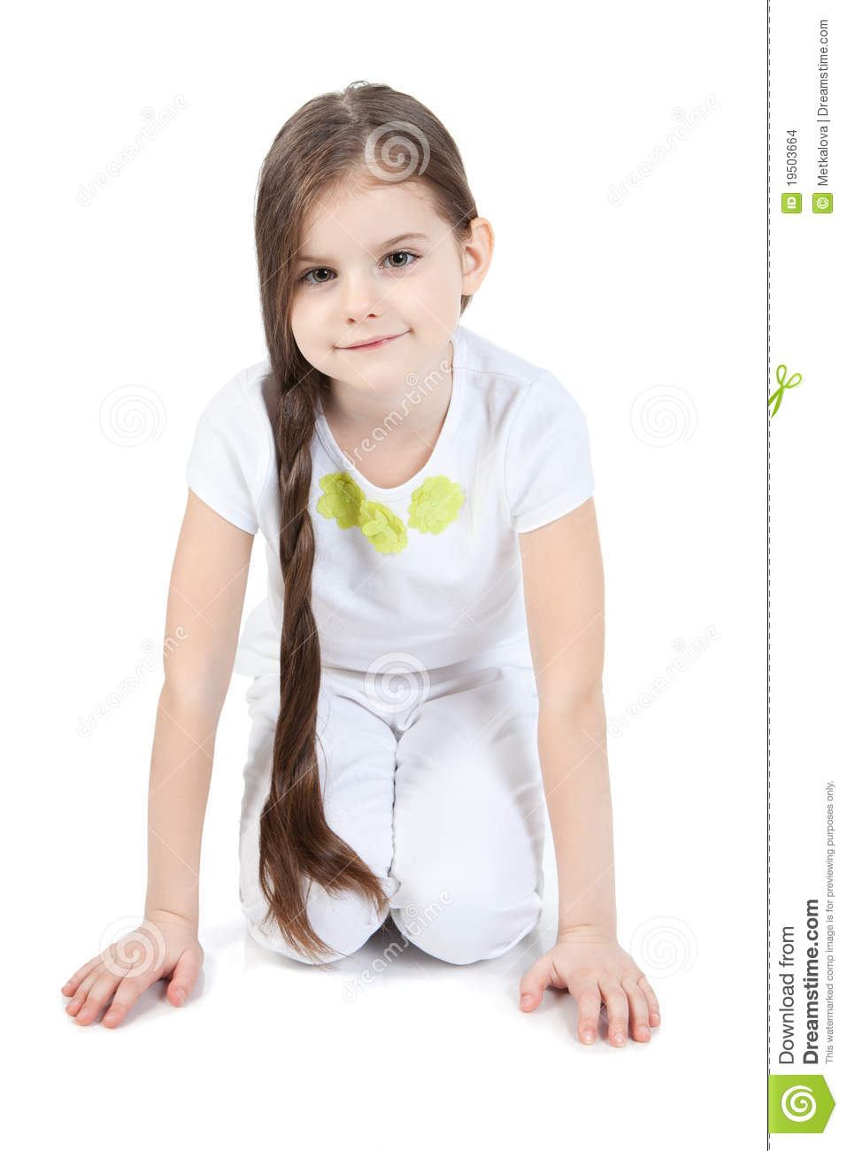 Picture Of Beautiful Little Girl Sitting On Floor Stock