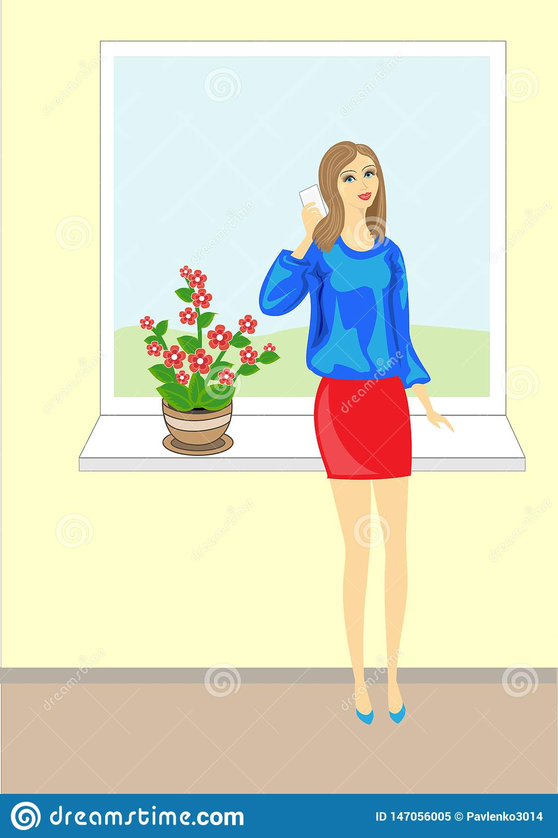 Picture of a beautiful young lady. Lovely cheerful girl in a blue blouse talking on the phone. It stands on a background of the