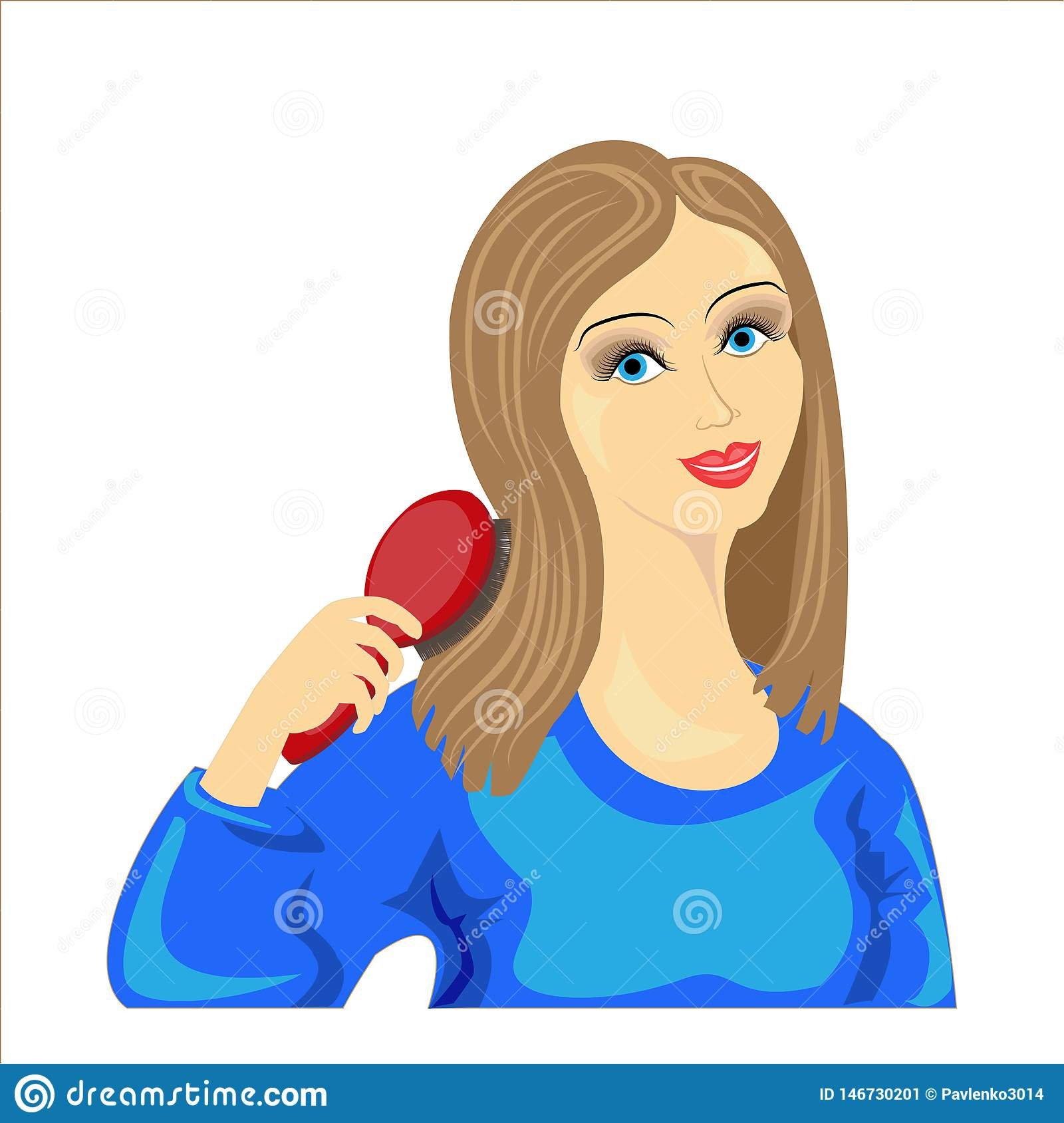 Picture of a beautiful young lady. A sweet, cheerful girl in a blue sweater combs her hair. They are even and healthy. Vector