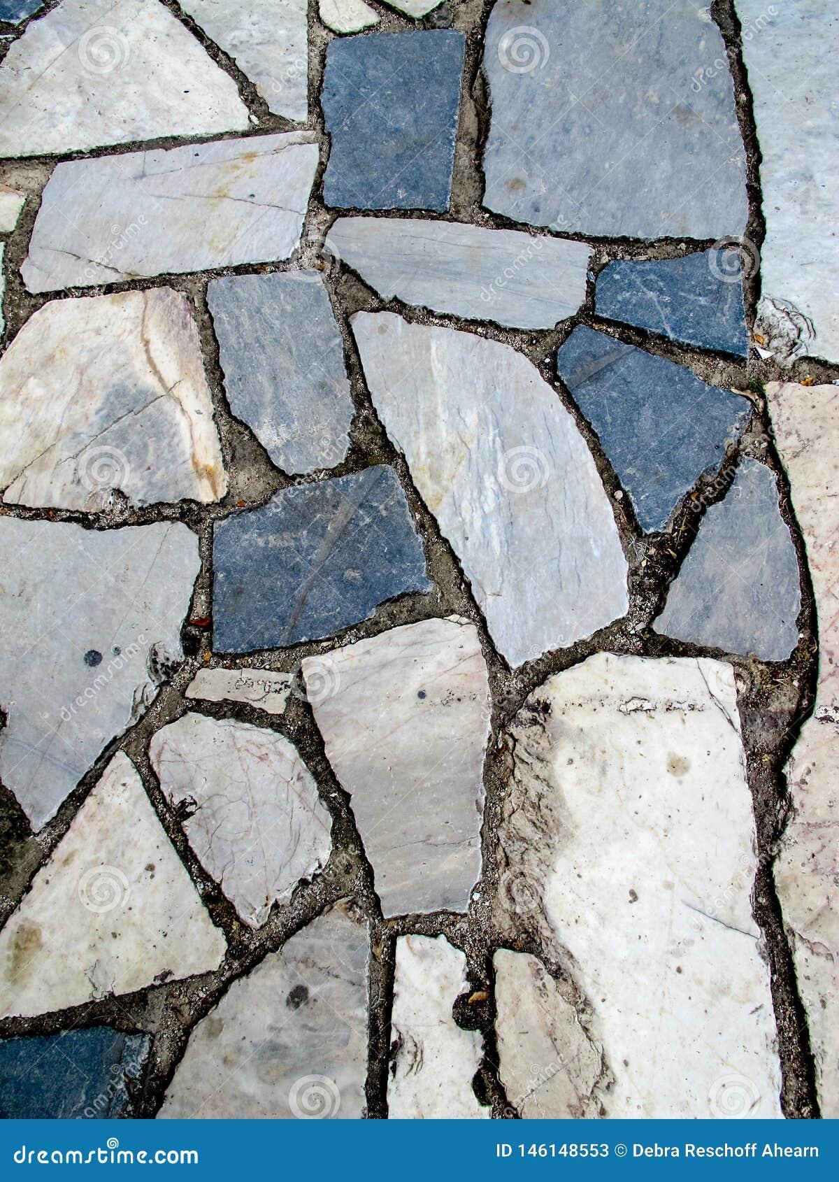 Blue Grey White cracked marble sidewalk pavement