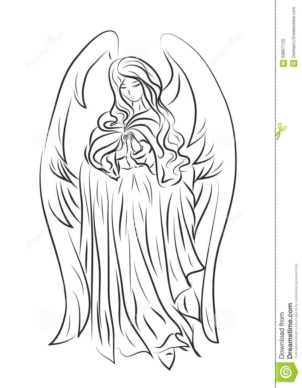 Picture Of A Bpicture Of A Beautiful Angel Girl In A Cartoon Sty Stock Vector Image 68867125