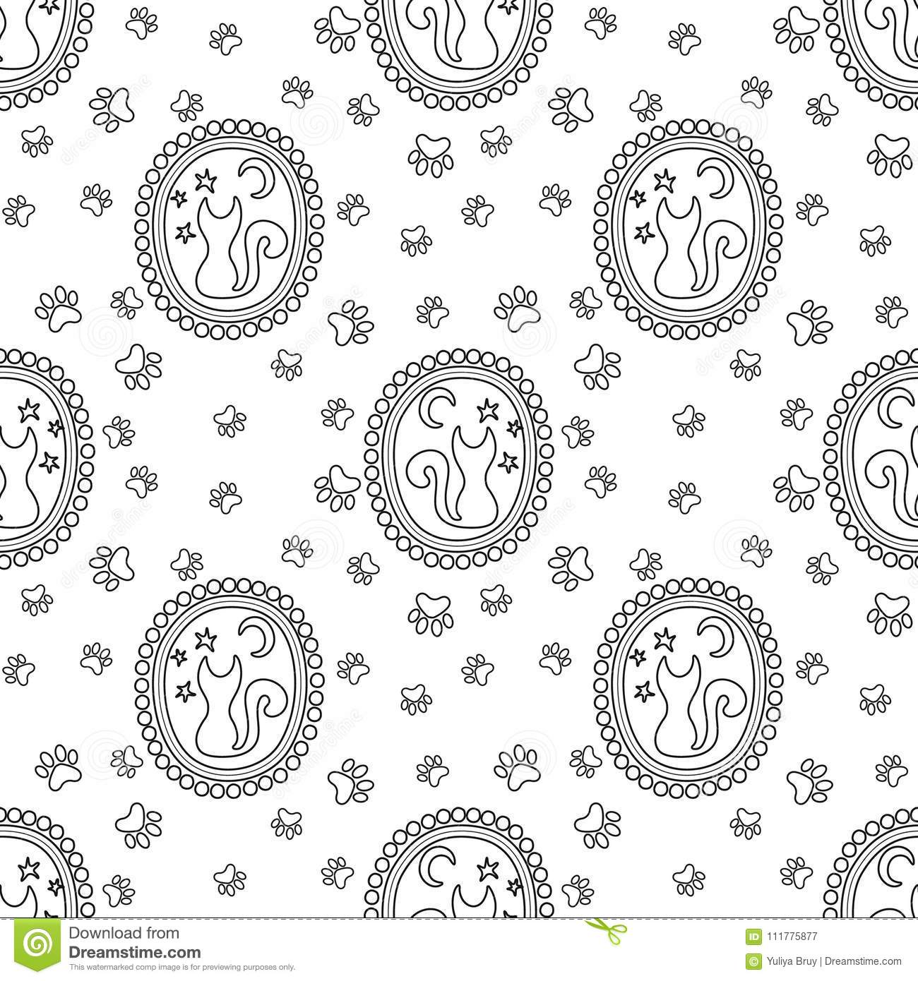 Picture of a cat in a medallion. Seamless pattern. Vector illustration