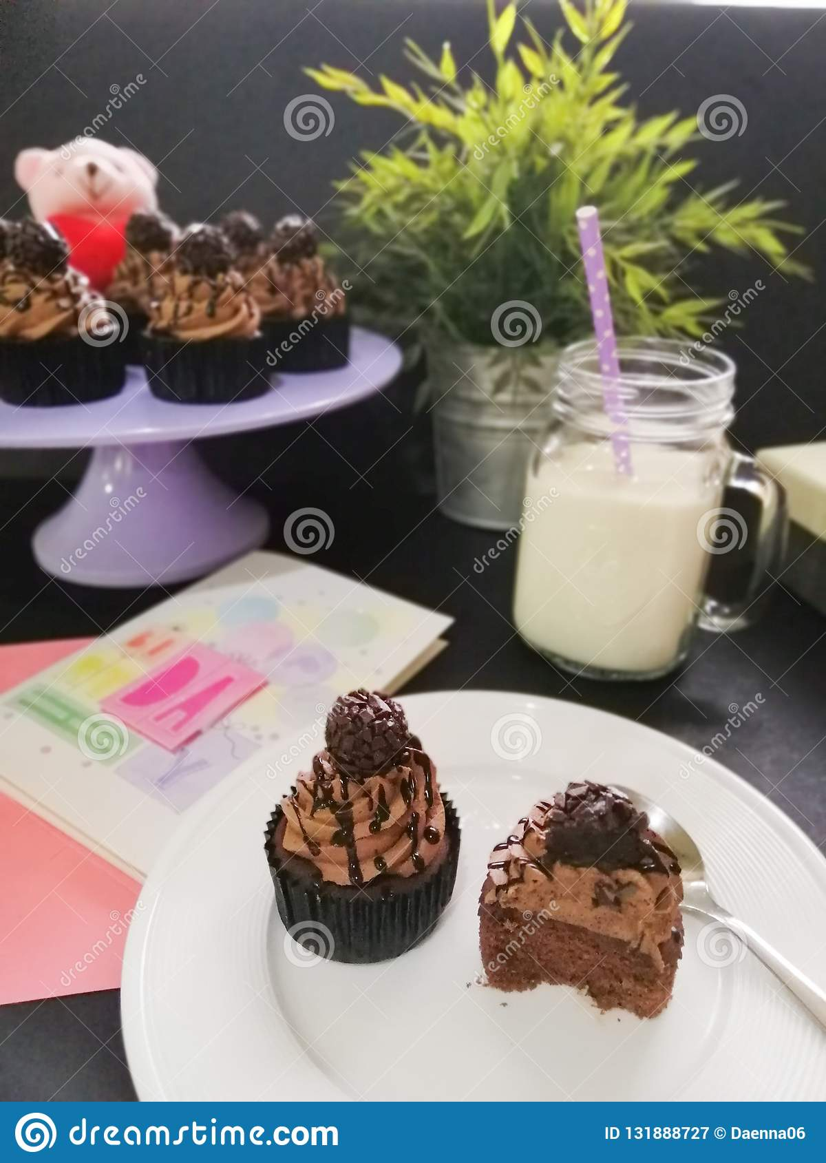 Picture Of Cupcakes With A Glass Milk And Birthday Card