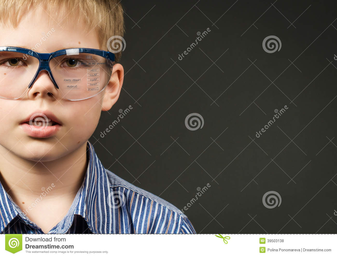 Picture of cute boy with digital glasses. Technology concept.