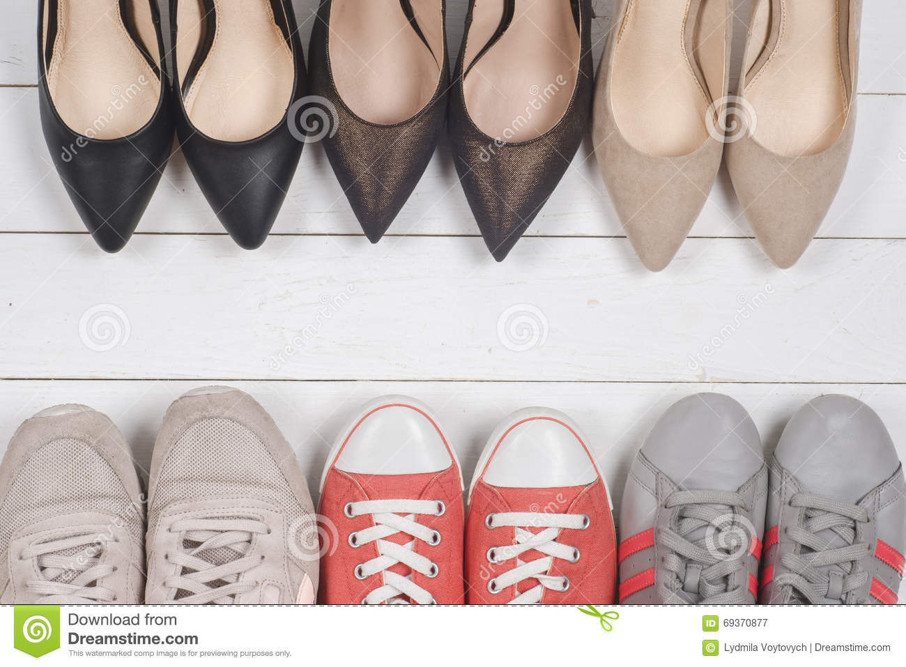 a picture of different shoes of several types of