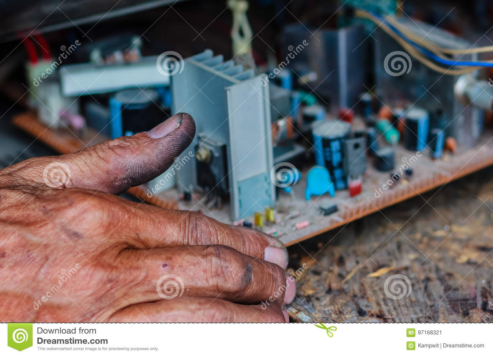Electrician Repairing A TV In Old Television Repair Shop Stock Image - Image of measurement