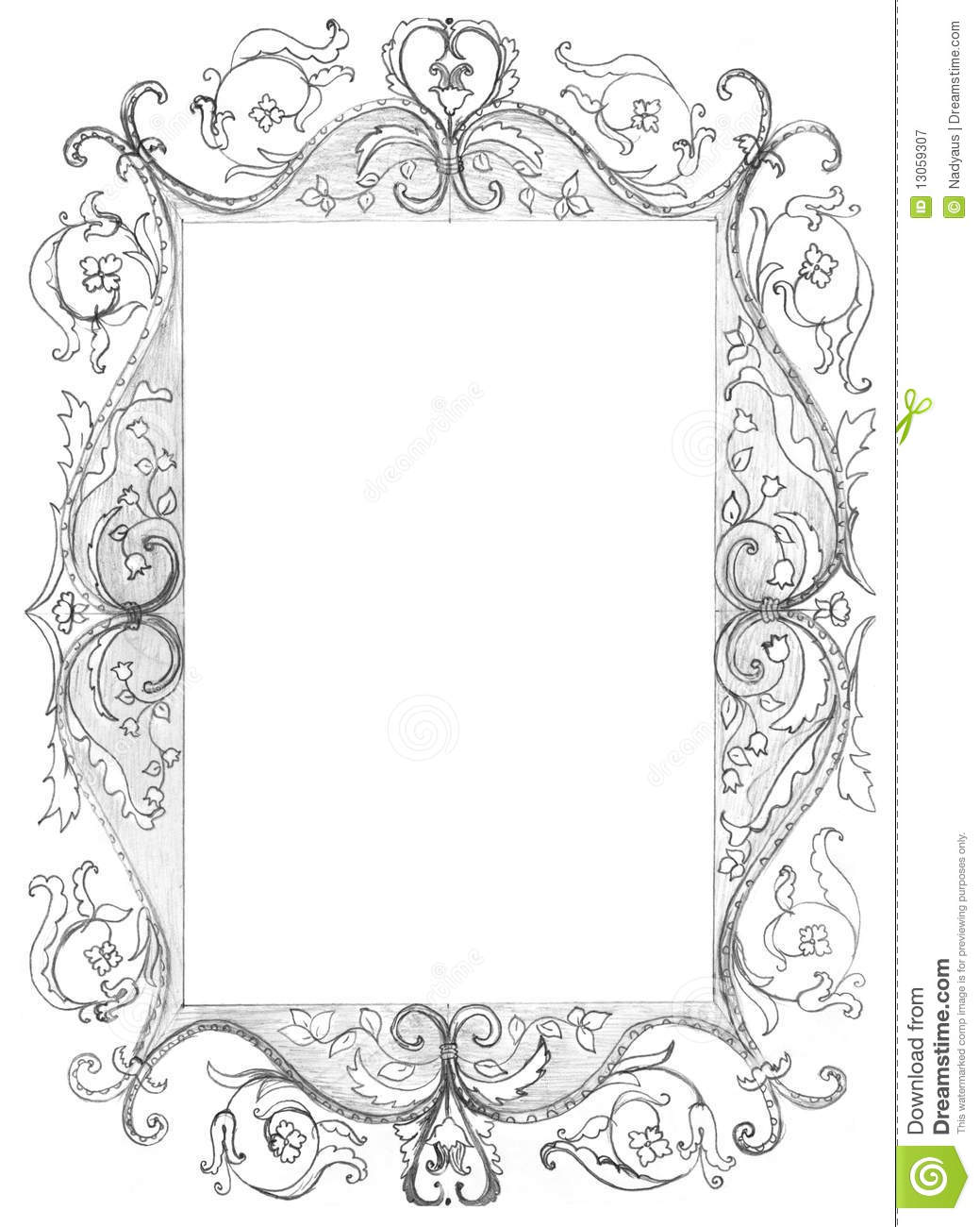 Picture Frame Isolated Sketch Stock Illustration