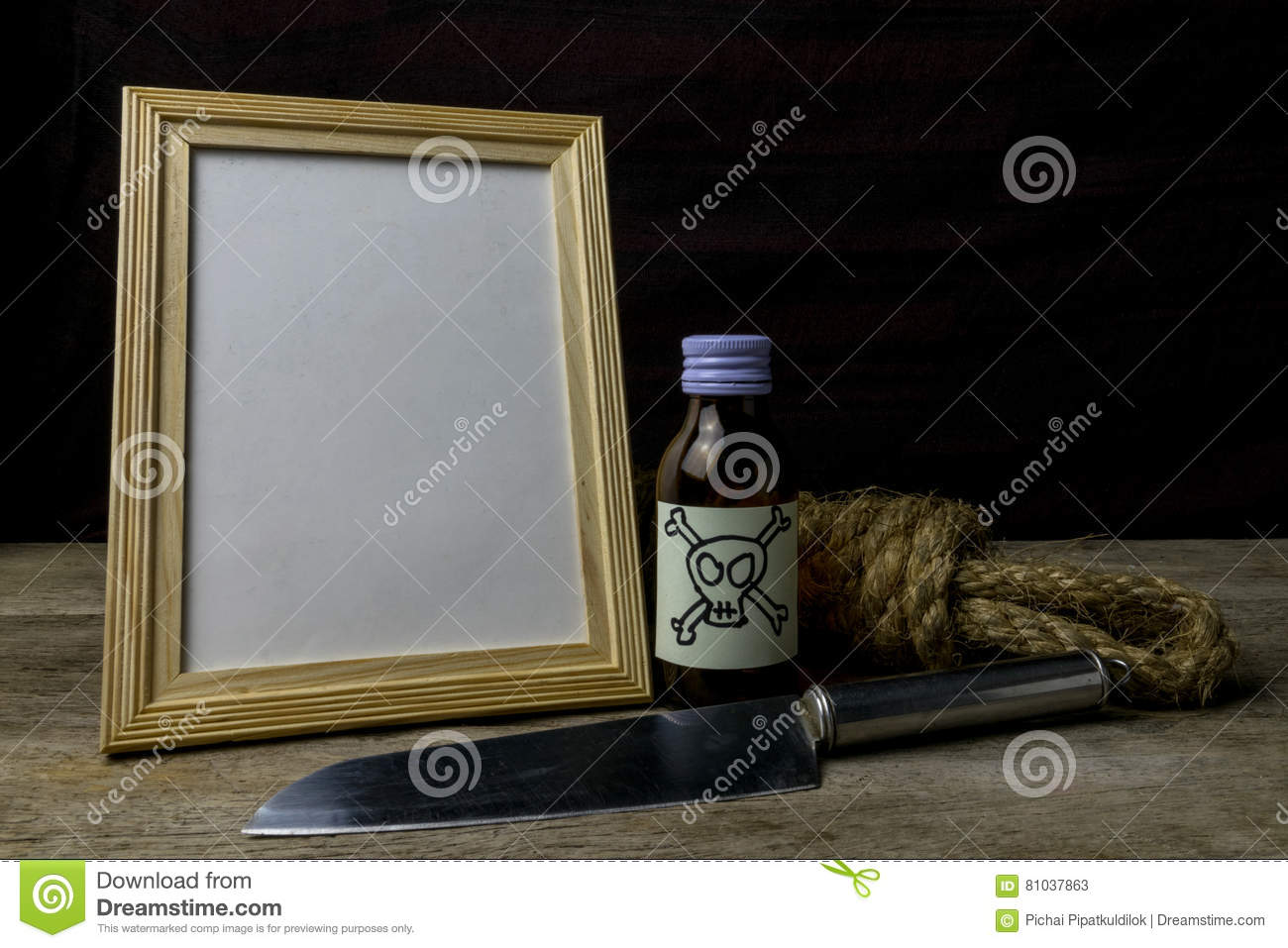 Picture frame and poison and knife.