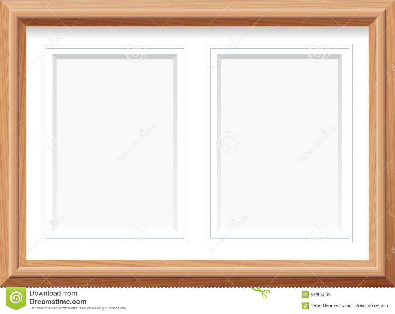 fb0c7881f7 Horizontal picture frame with two portrait format mats for two pictures.  Vector illustration.