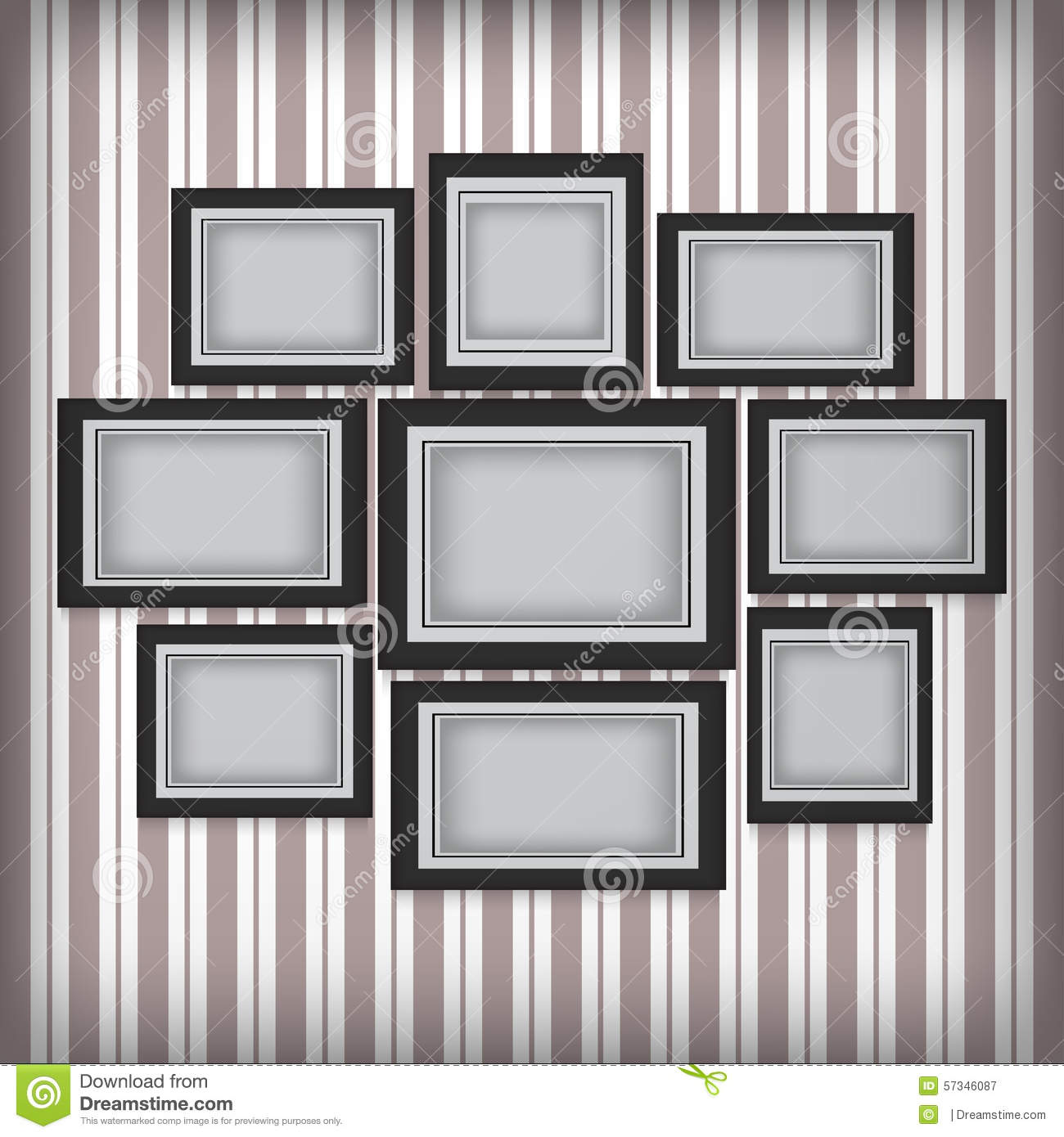 picture frames hang on the wall with retro wallpaper stock. Black Bedroom Furniture Sets. Home Design Ideas