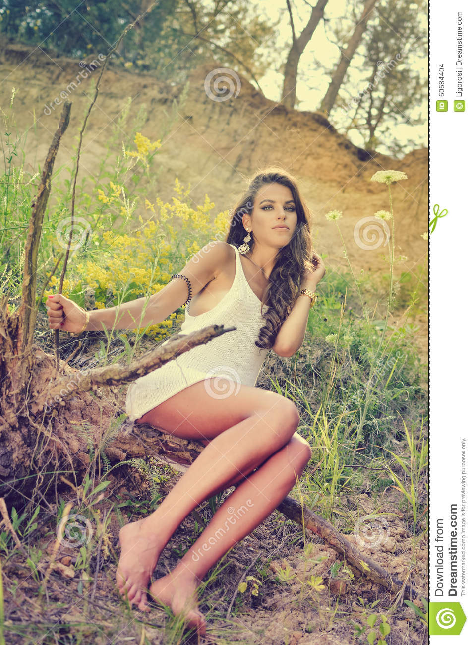 picture of glamour sexi young pretty lady sitting stock photo