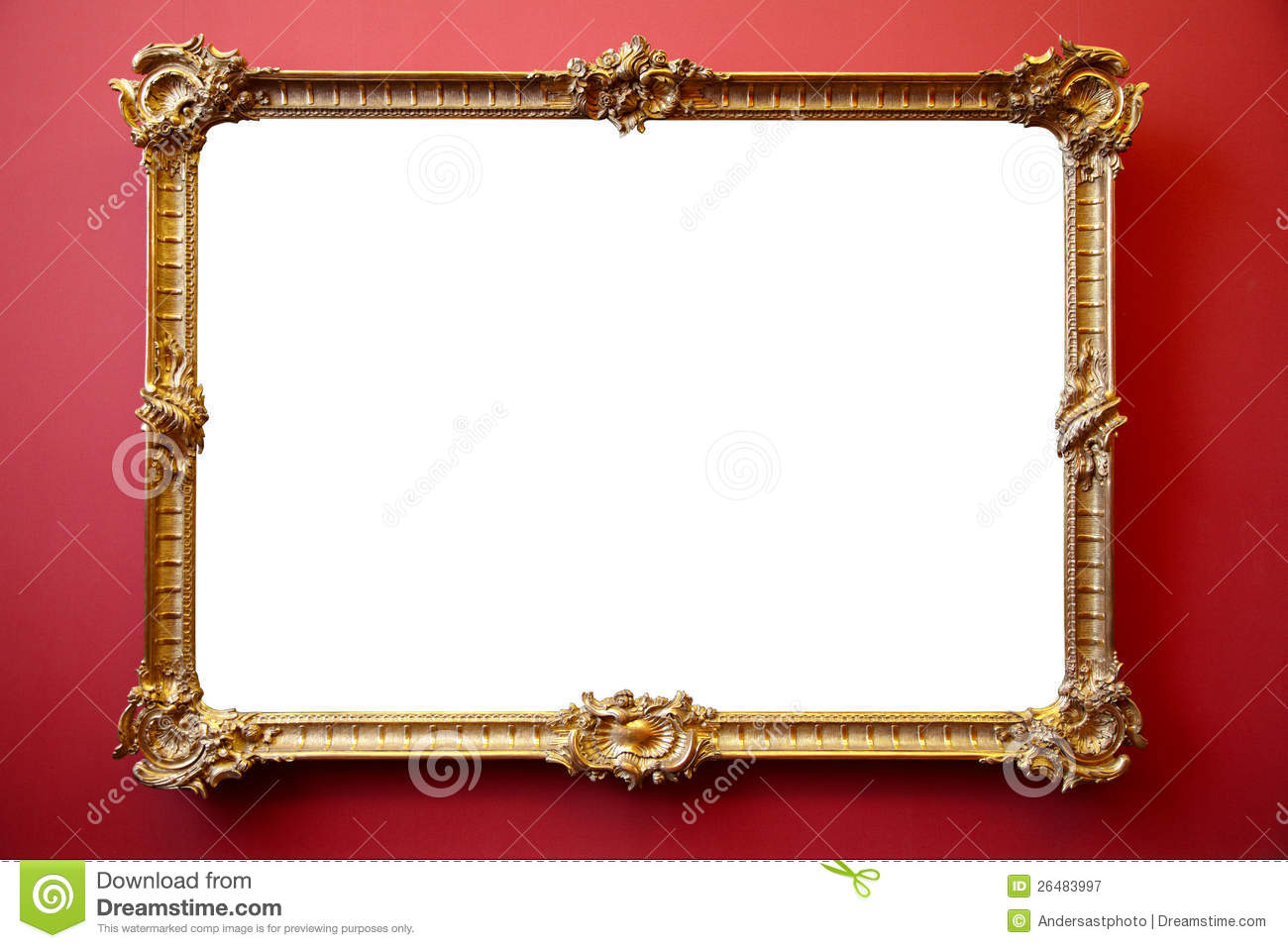 Picture Gold Frame On Red Painted Wall Stock Image Image