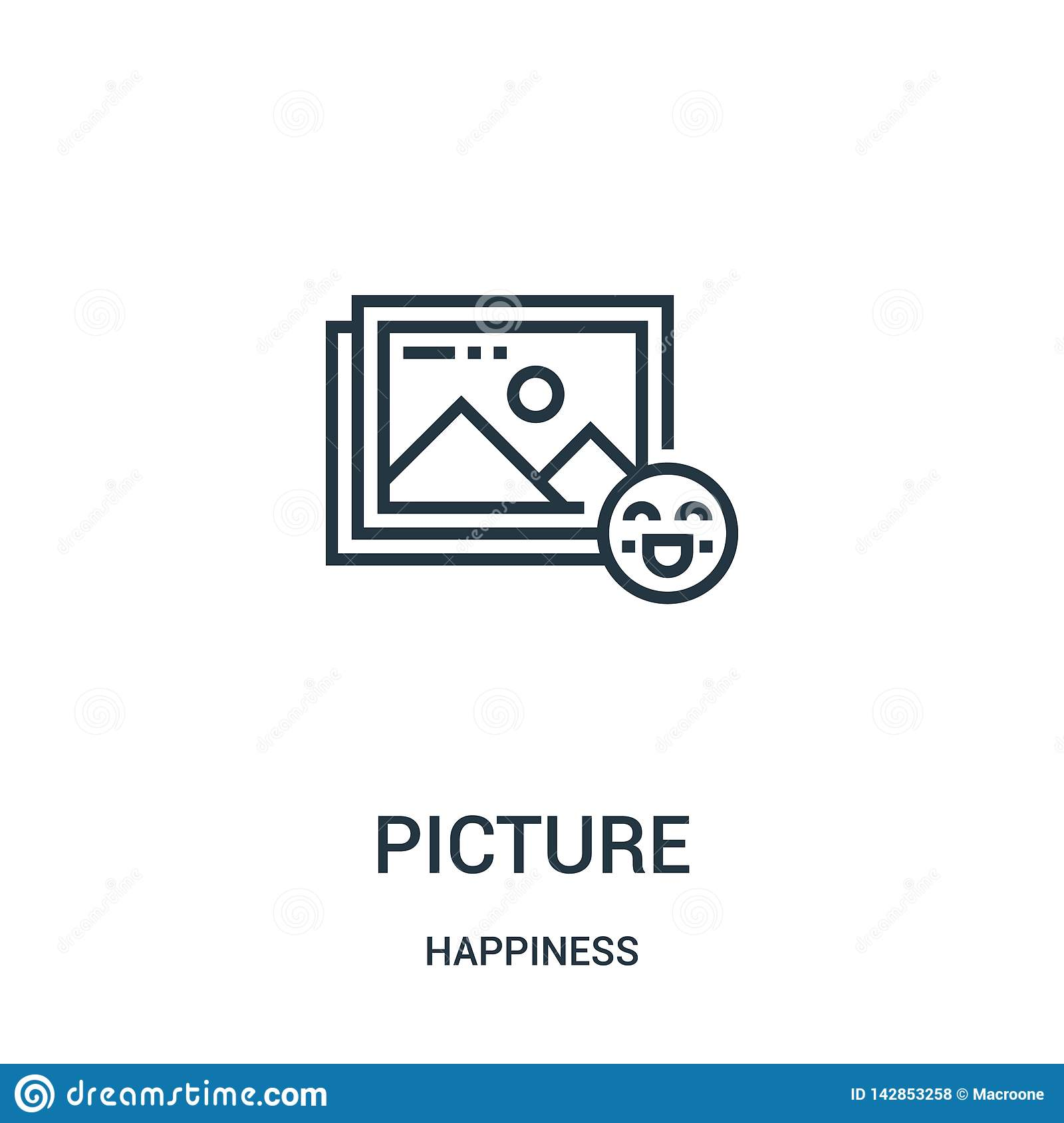picture icon vector from happiness collection. Thin line picture outline icon vector illustration. Linear symbol for use on web