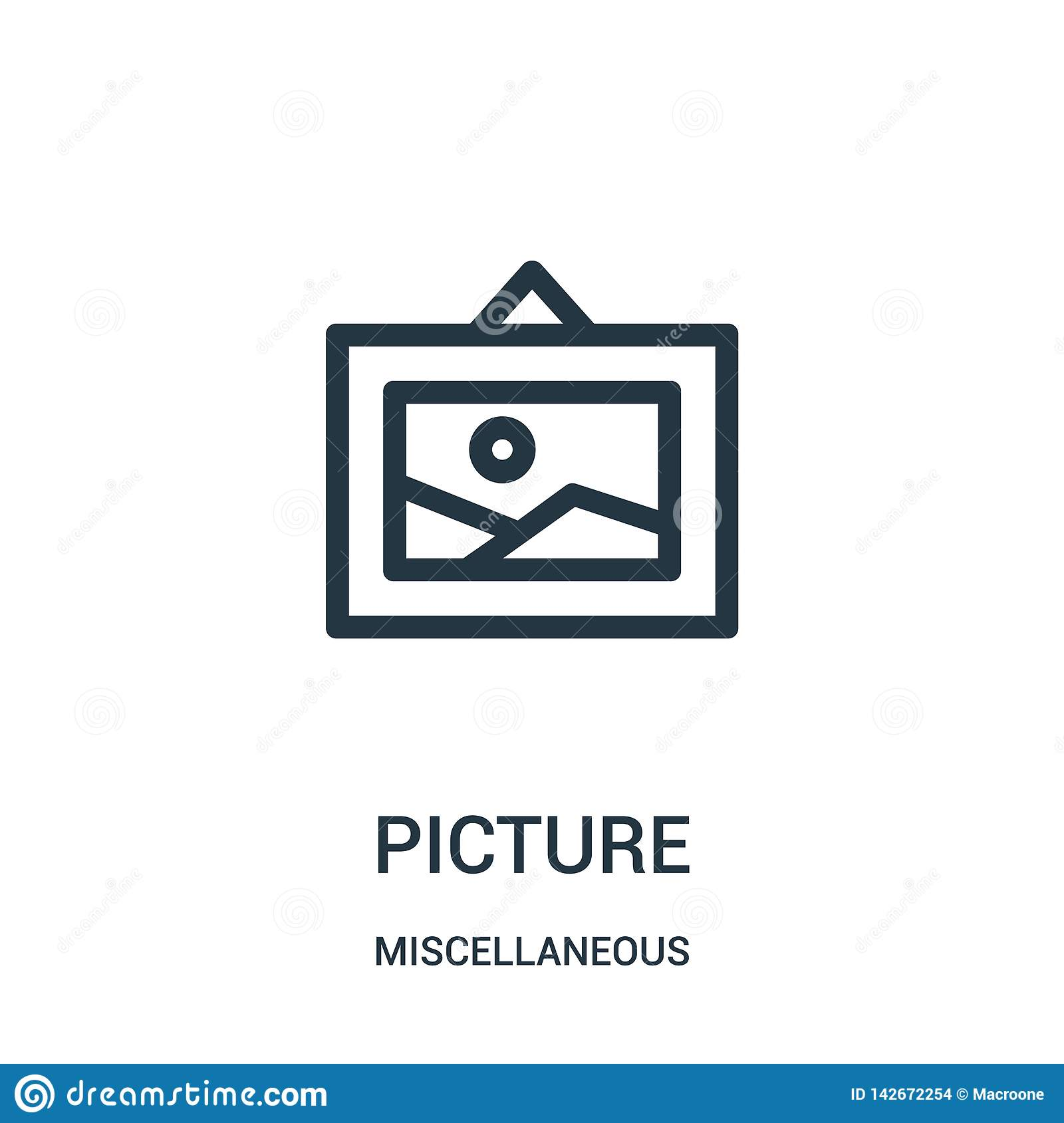 picture icon vector from miscellaneous collection. Thin line picture outline icon vector illustration. Linear symbol for use on