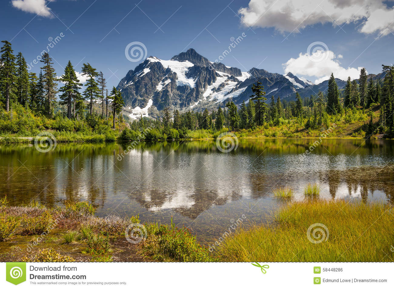 Picture Lake, Mt. Baker-Snoqualmie National Forest.