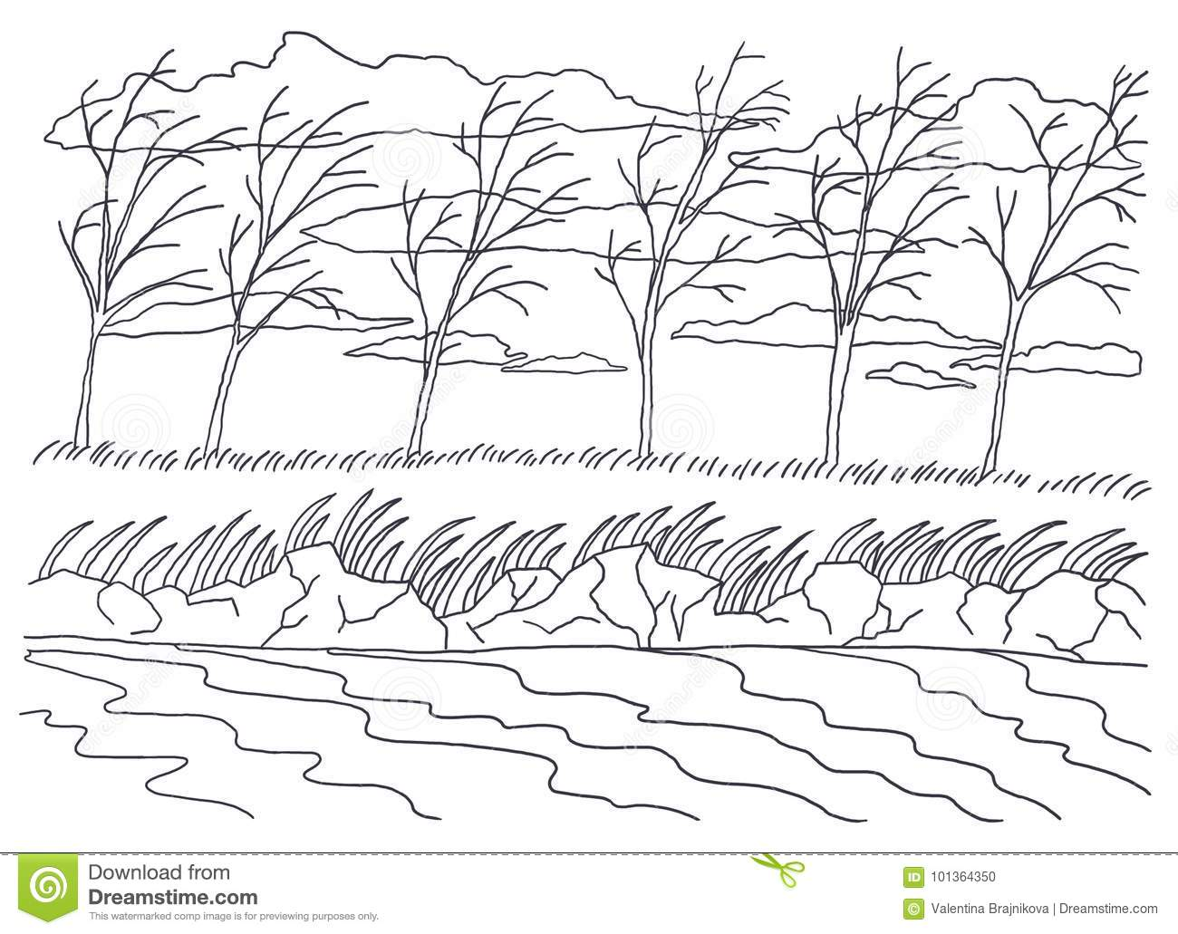 Template For Coloring. Landscape Painting. Autumn Wind Stock ...