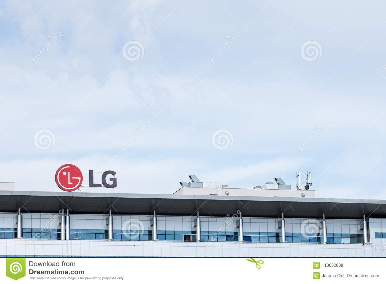 LG Electronics Logo On Their Main Office For Serbia  LG Is One Of