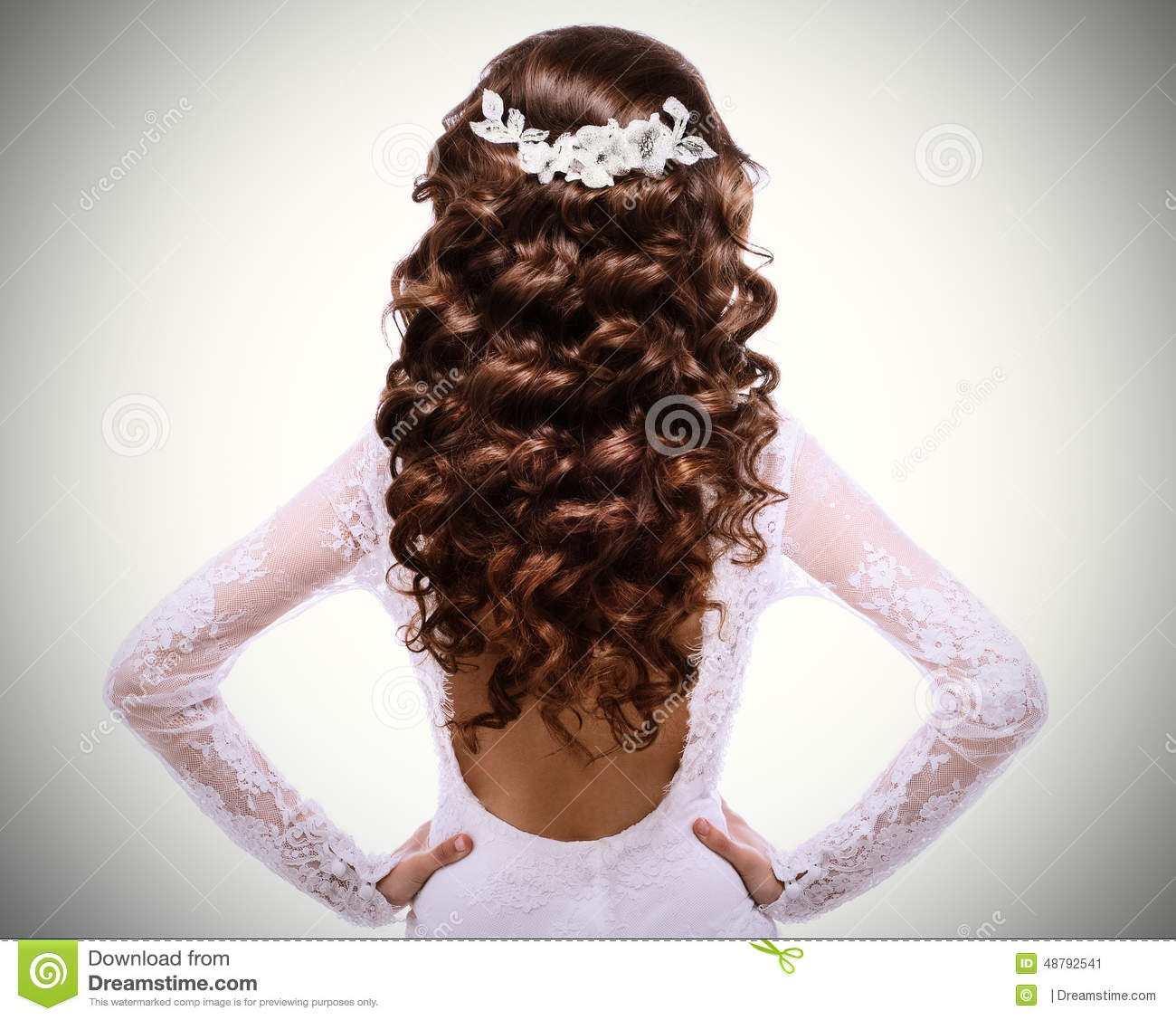 Picture Of Long Curly Brown Hair Brunette Girl In White Wedding