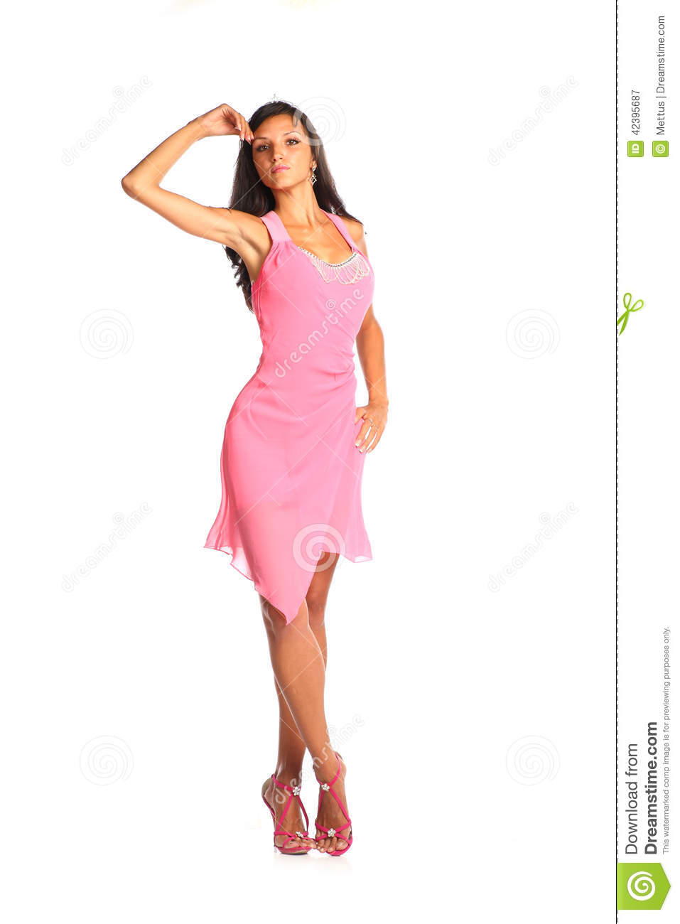 Excellent Brunette Woman In Dress Over White Background Stock Images  Image