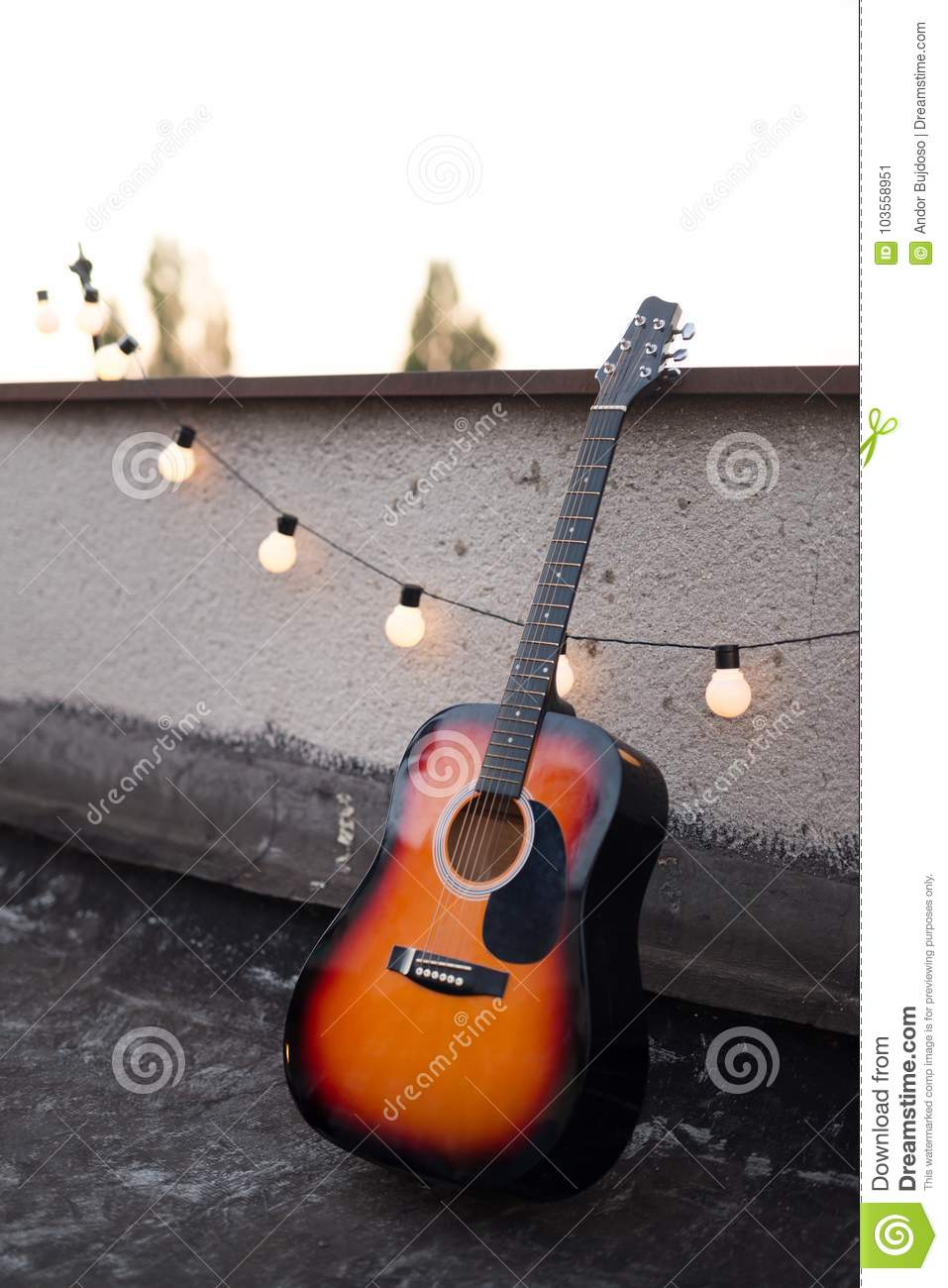 Picture Of Nice Accoustic Guitar On Rooftop Stock Image Image Of