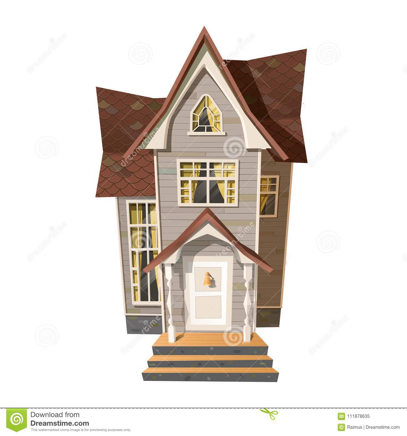 Download Picture Of Old Mansion On White Vector Illustration Victorian Style House Isolated