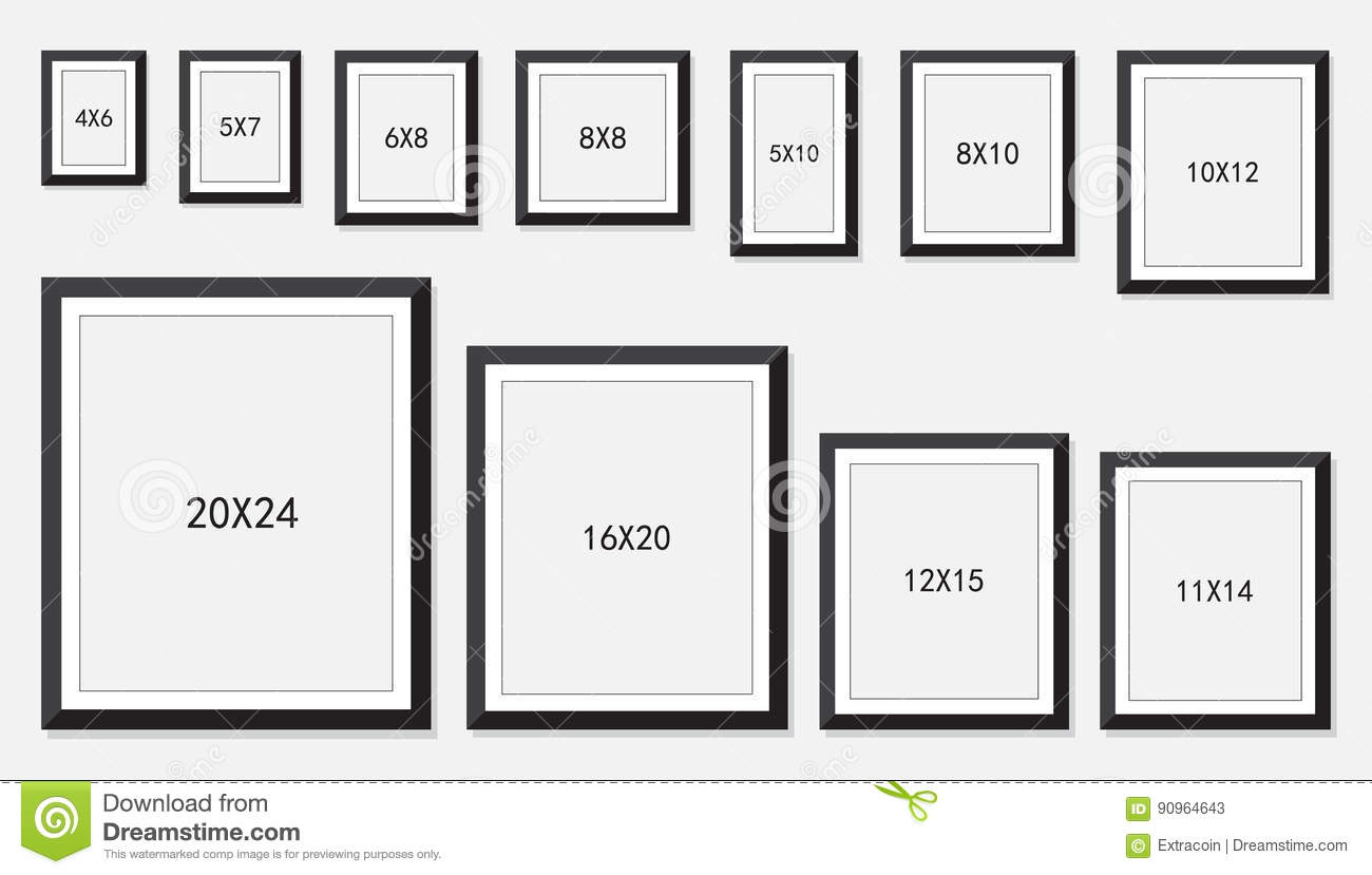 Picture And Photo Frames Size Stock Vector - Illustration of modern ...