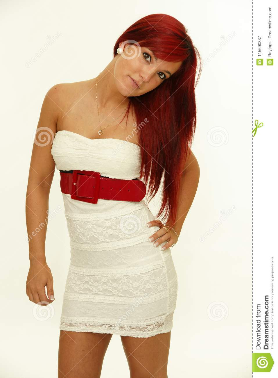Redhead woman posing apologise, but