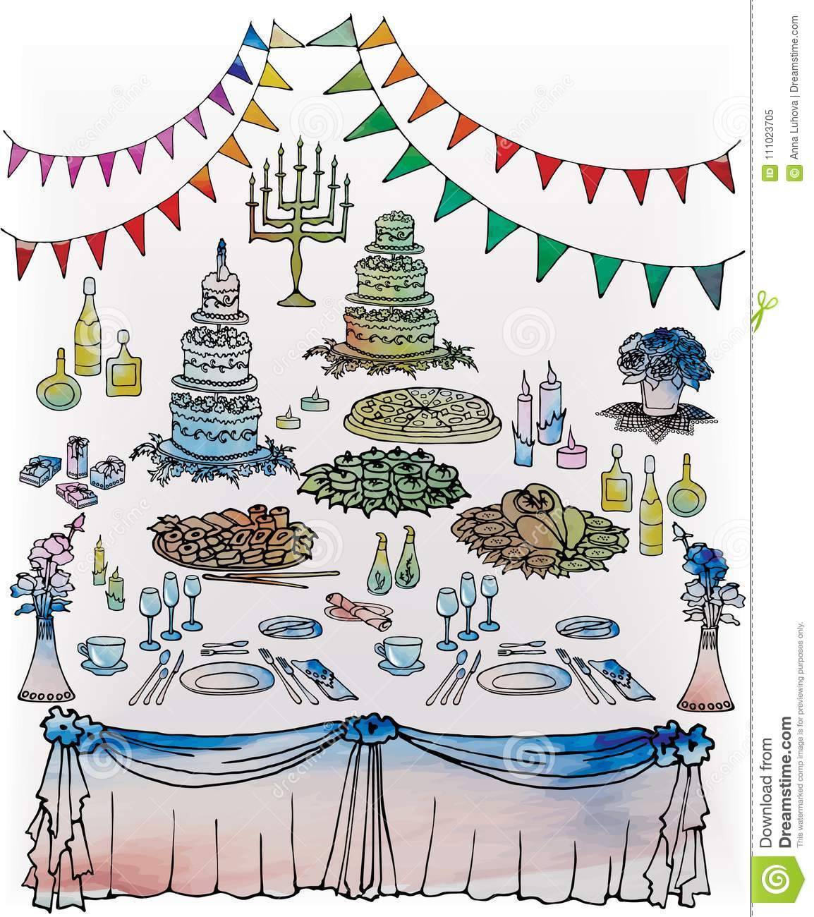 Jewish Wedding Food: Wedding Decorated Table Menorah Gifts And Flowers Stock