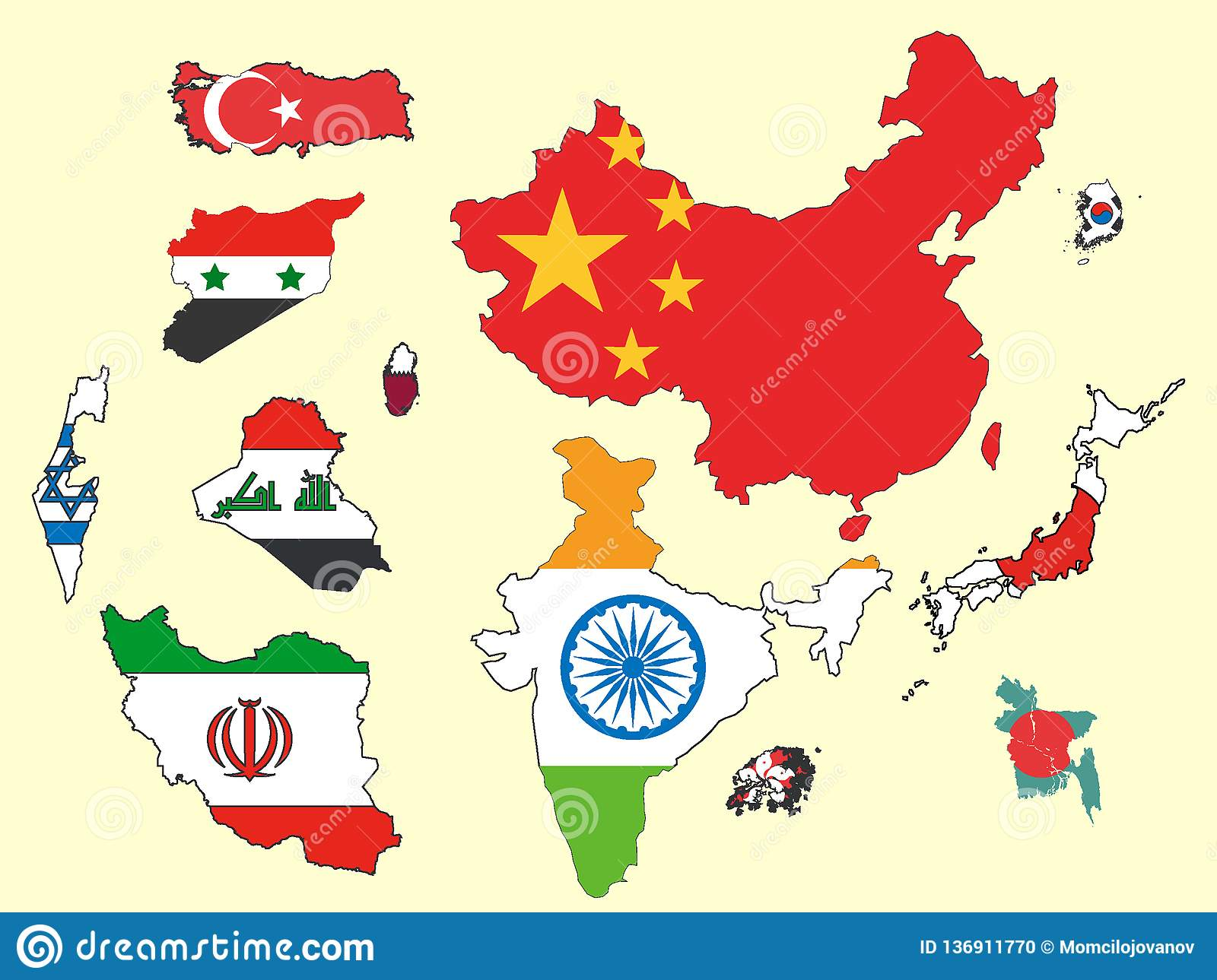 Picture Set Of Maps And Flags Of Countries Of Asia Stock Vector ...