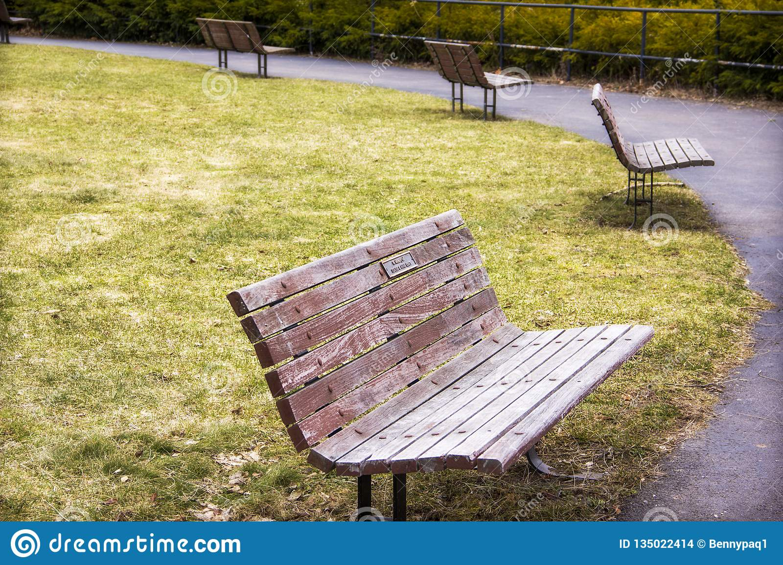 Set Of Wooden Park Benches In Highland Park Rochester New York