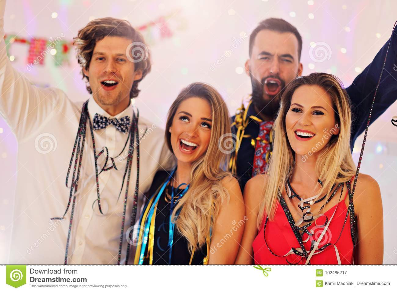 Picture showing group of friends having fun with at Party