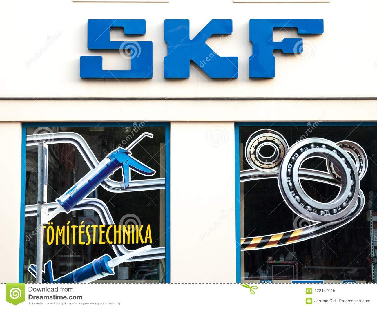 SKF Logo On Their Main Shop For Szeged  SKF, From Sweden, Is The