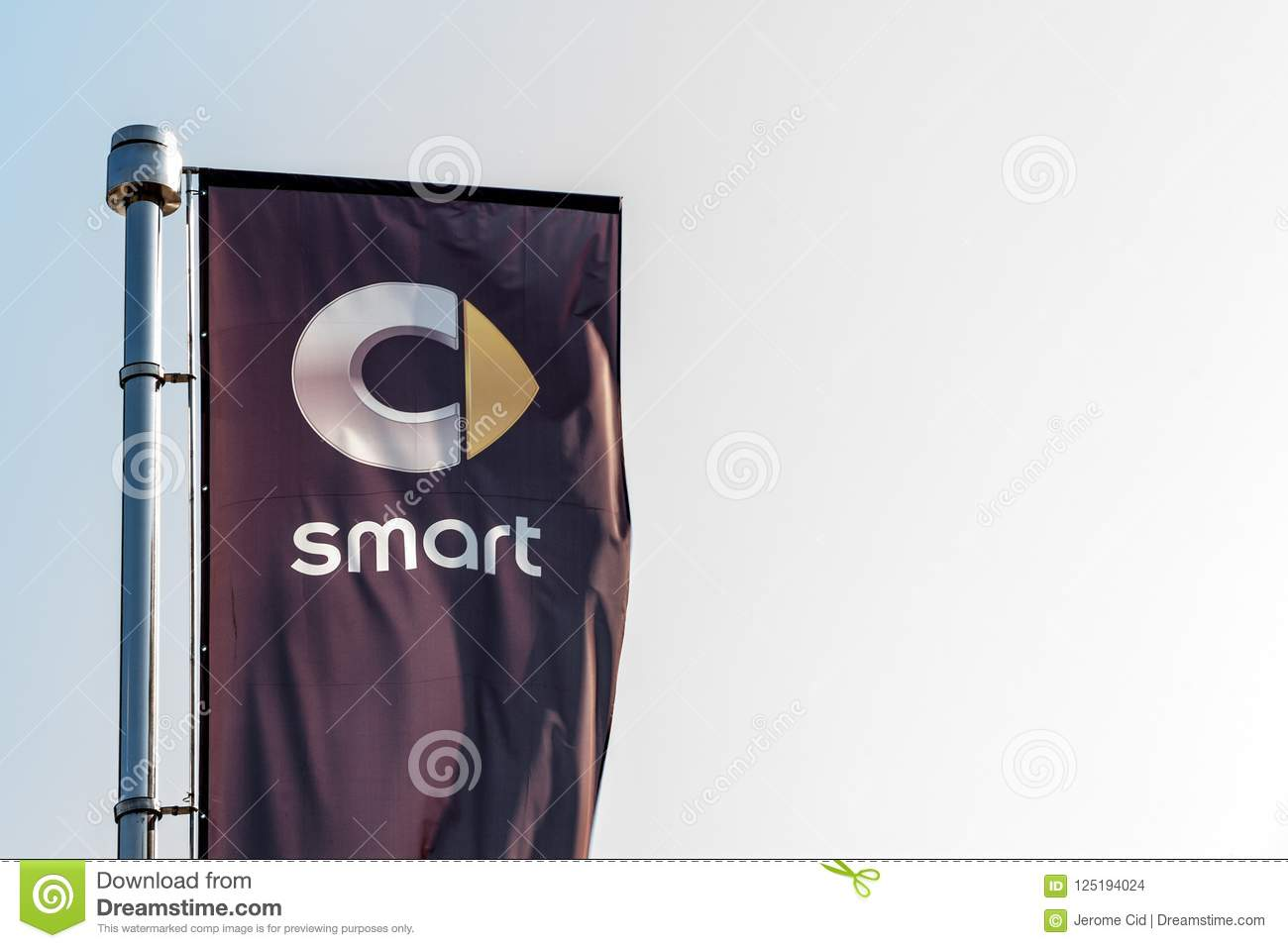 Logo Of Smart On A Flag In Front Of Its Dealership For Belgrade
