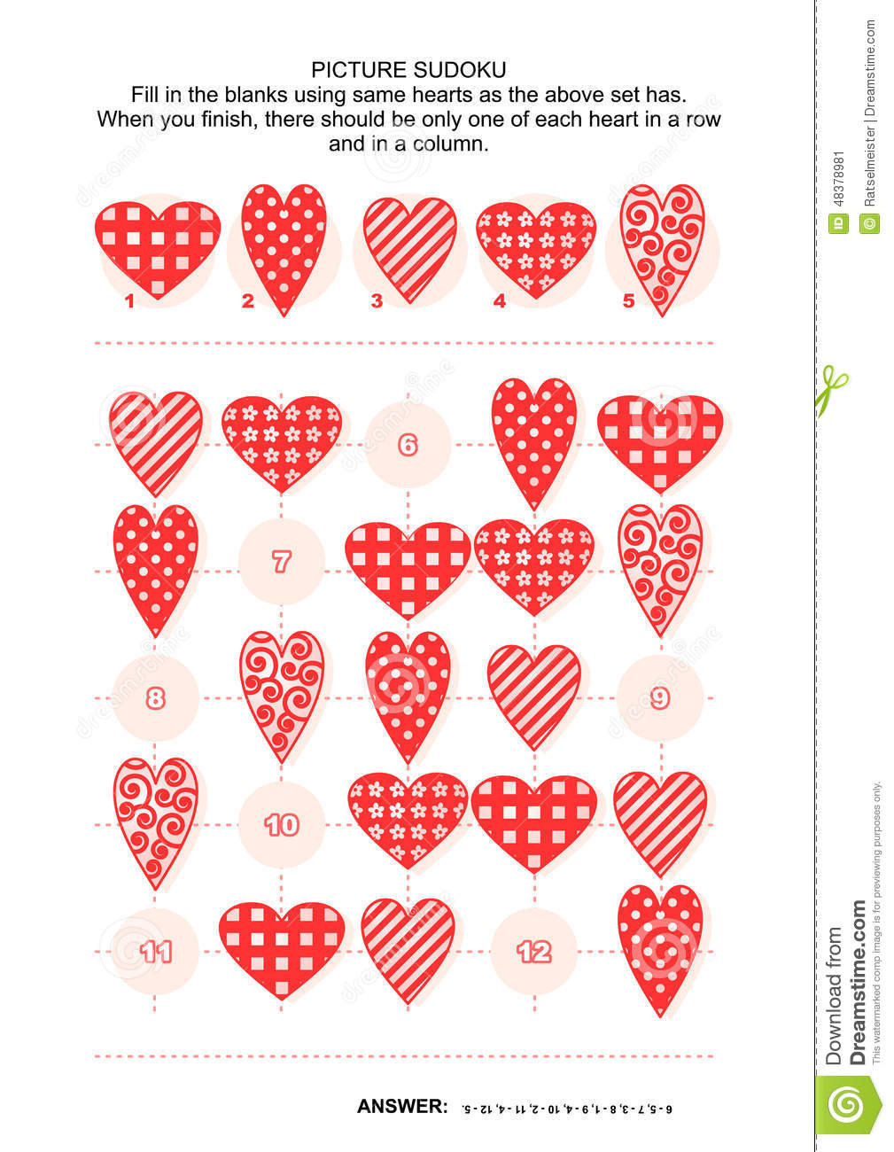 Picture Sudoku Puzzle With Hearts Stock Vector - Illustration of ...