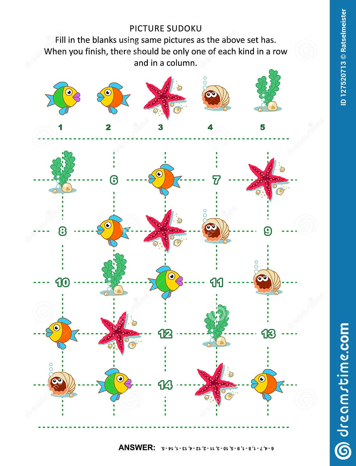 Picture Sudoku Puzzle With Underwater Beings Stock Vector ...